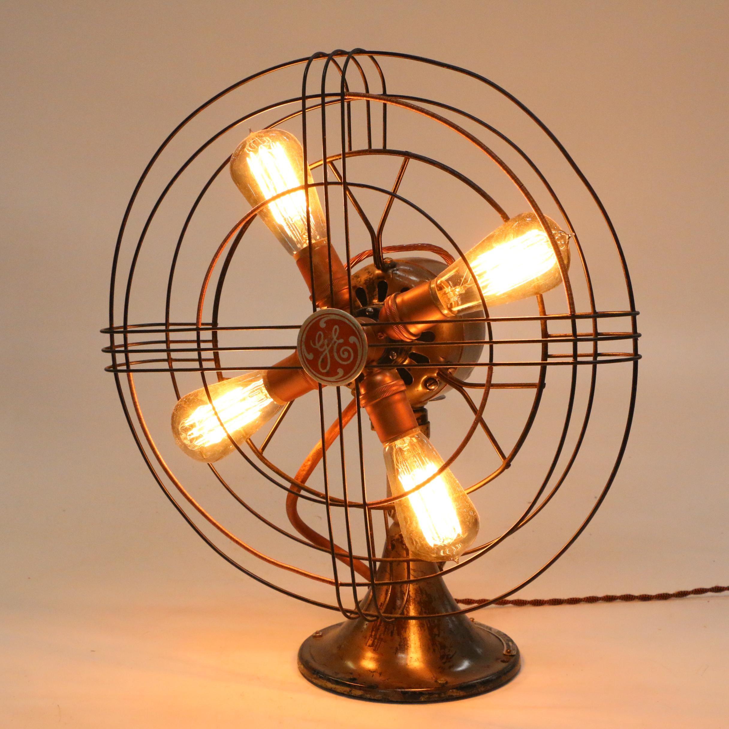 Industrial General Electric Fan Table Lamp
