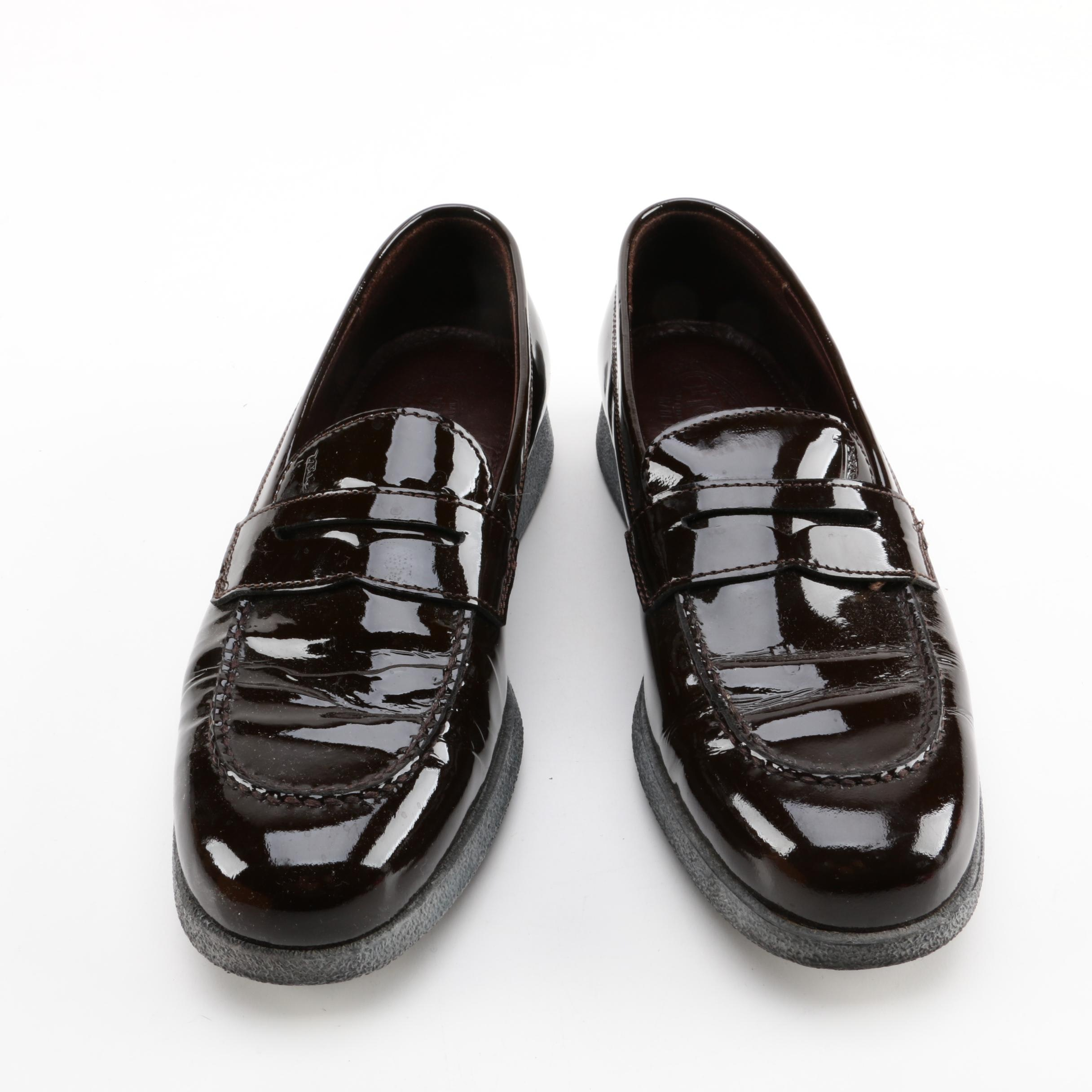 Women's J.P. Tod's Dark Brown Patent Leather Loafers