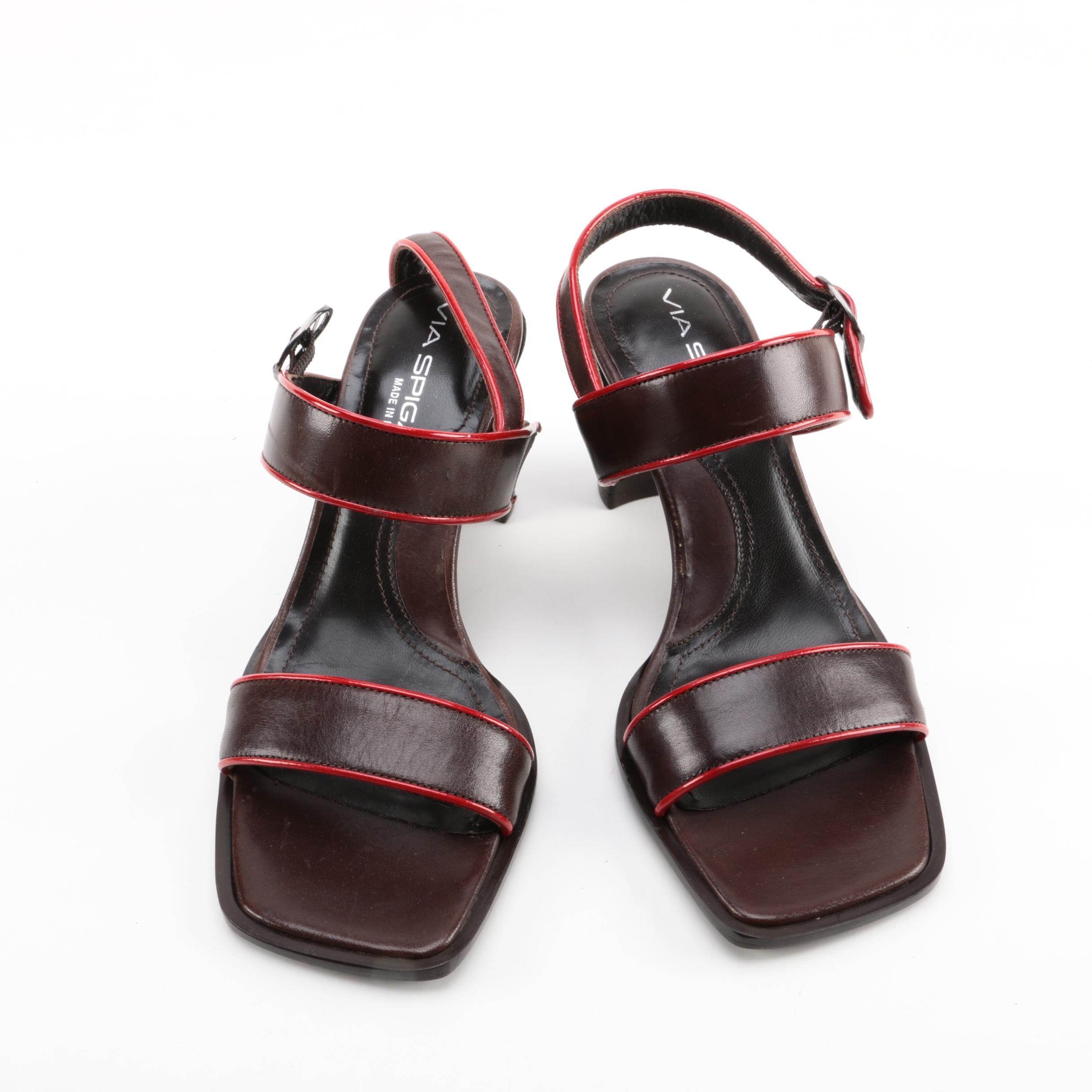 Women's Via Spiga Leather Heeled Sandals