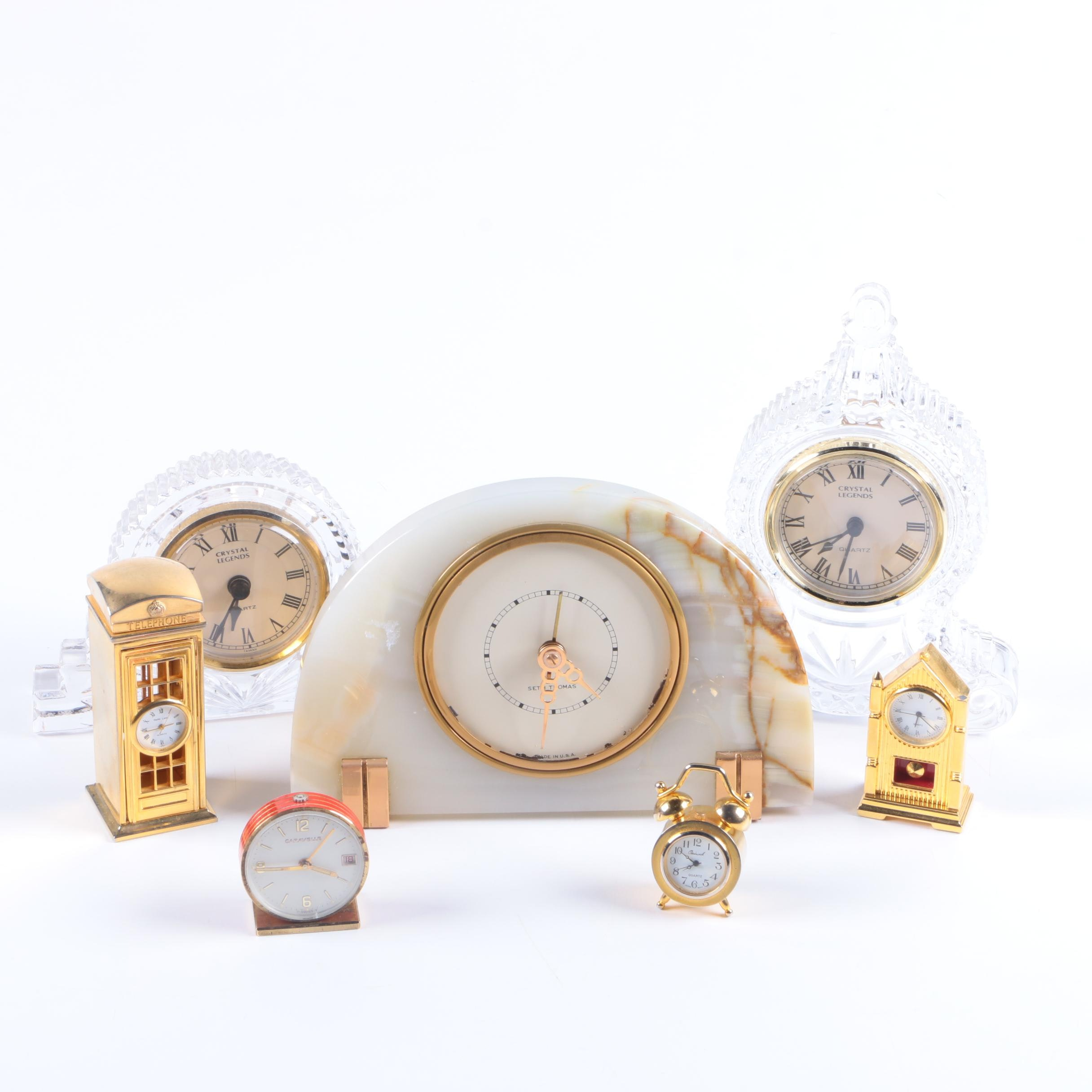 Collection of Mantel and Shelf Clocks featuring Godinger