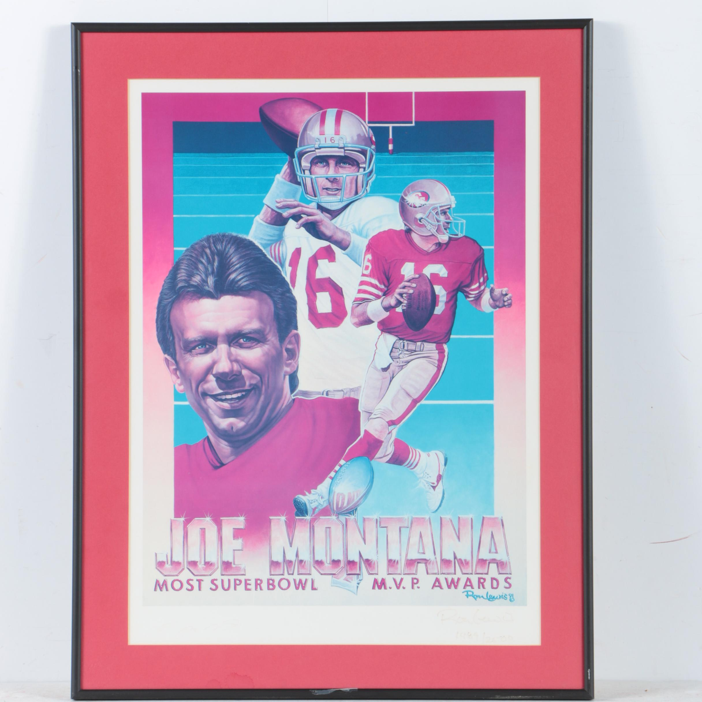 Joe Montana Autographed Limited Edition Offset Lithograph Poster on Paper