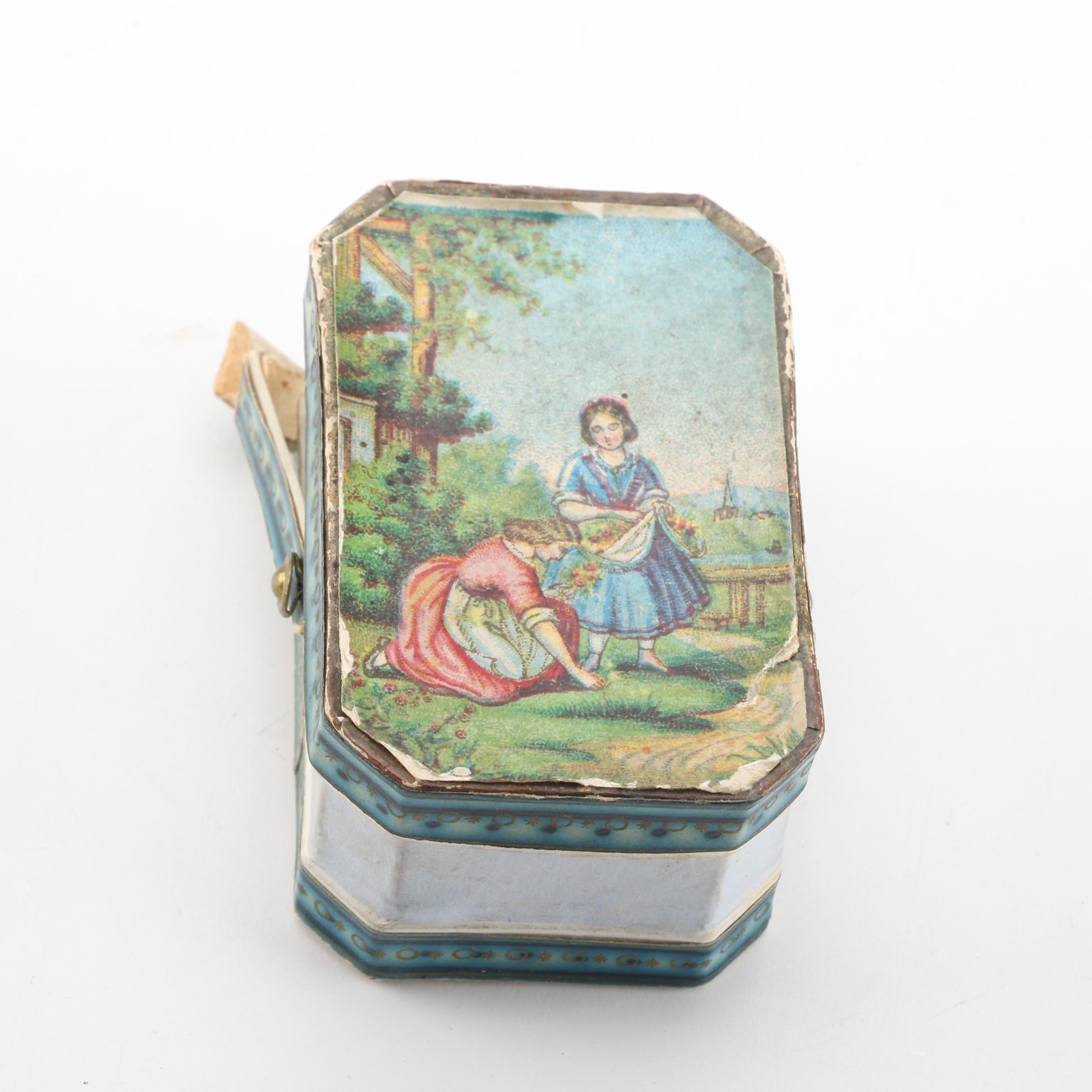 Victorian Mourning Hair Keepsakes and Tin Trinket Box