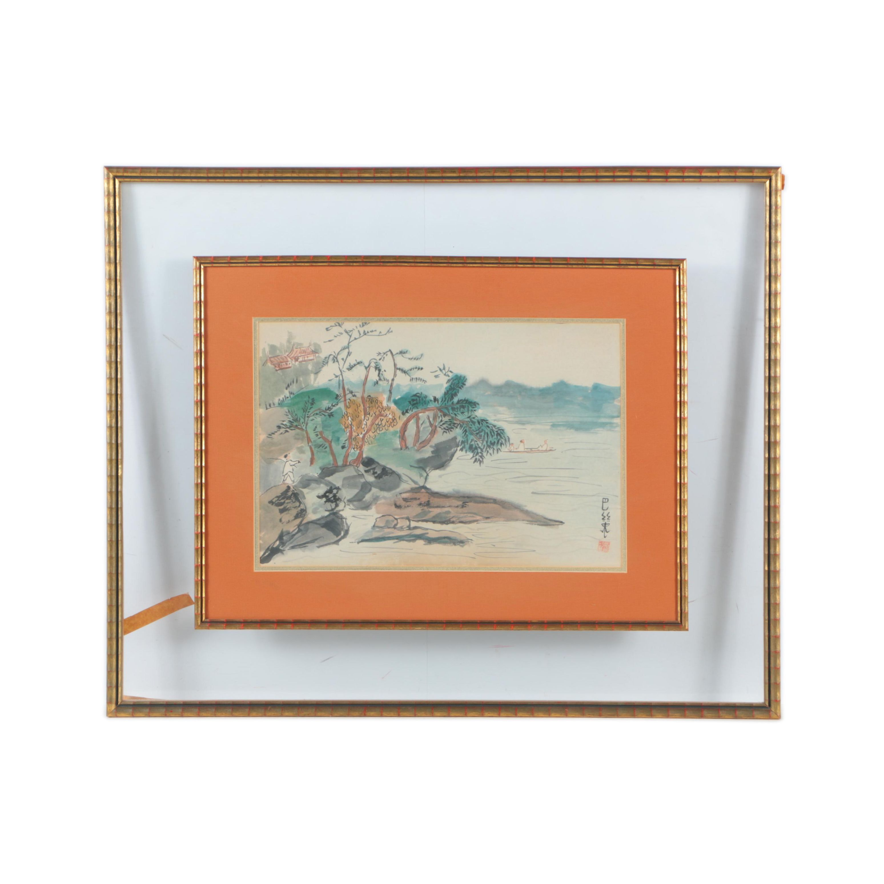 East Asian-Style Watercolor Painting of a Landscape on Paper