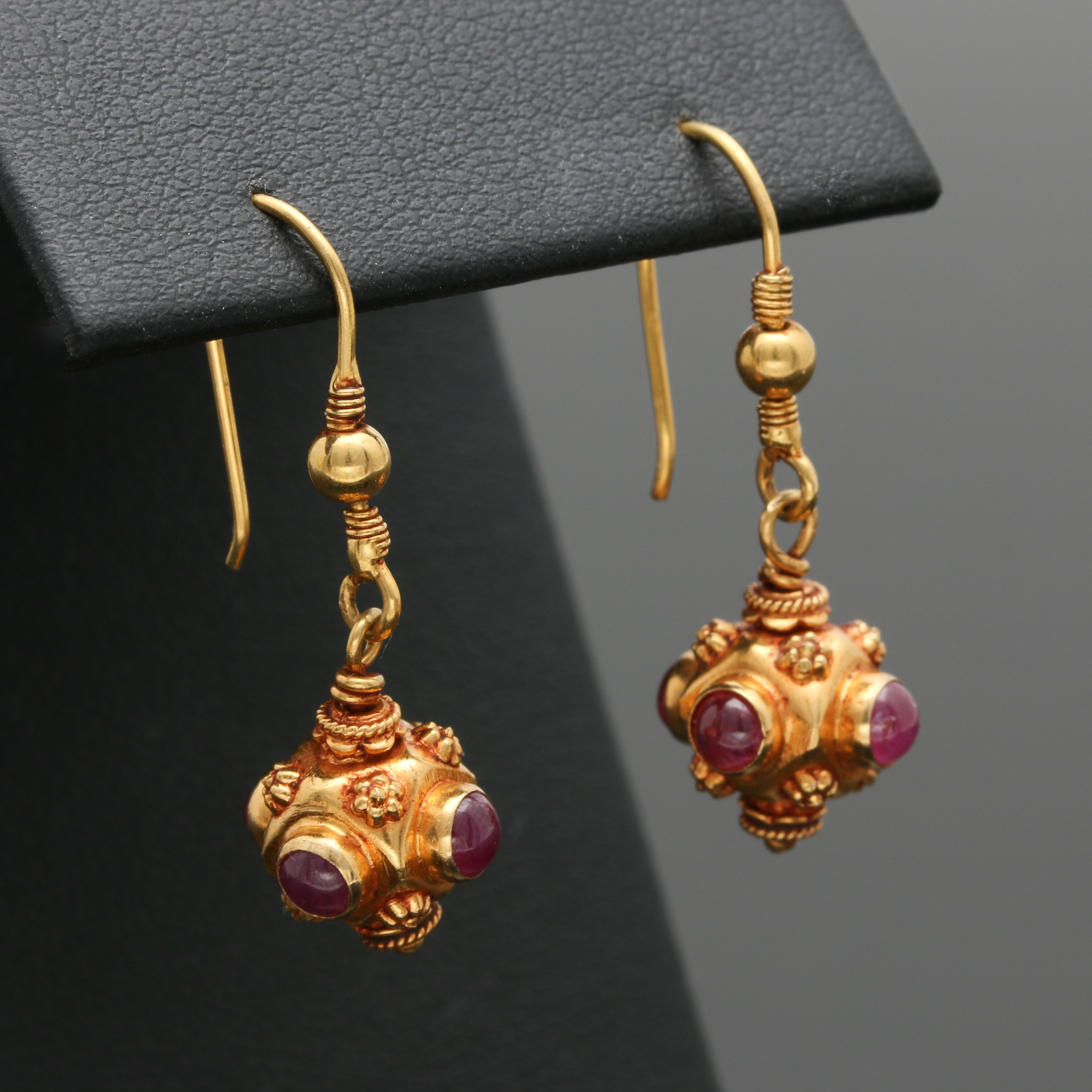 18K Yellow Gold Ruby Dangle Earrings
