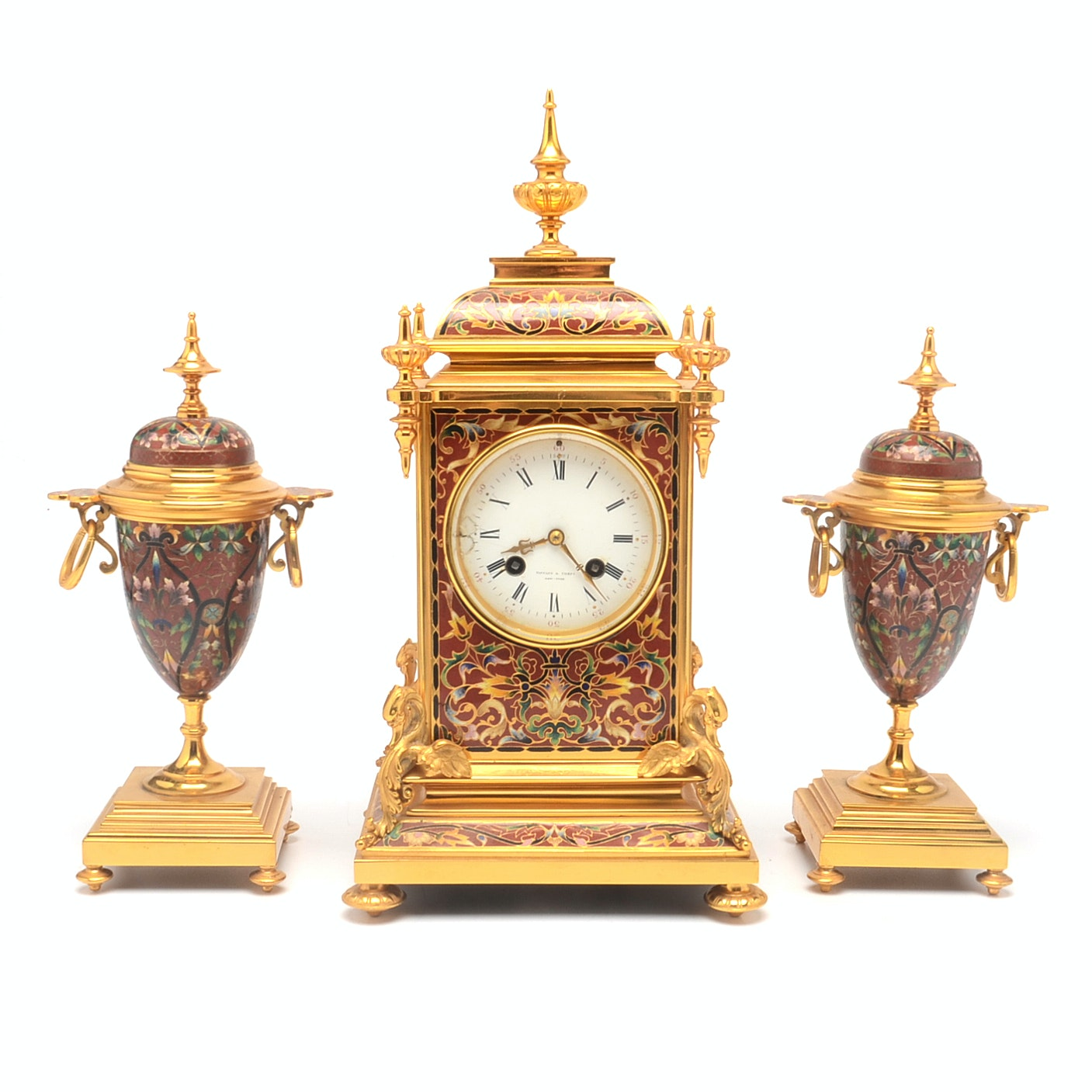 Late 19th Century French Gilt Bronze Champleve Clock Garniture for Tiffany & Co