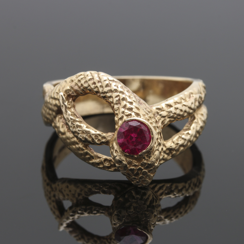 14K Yellow Gold Ruby Snake Motif Ring