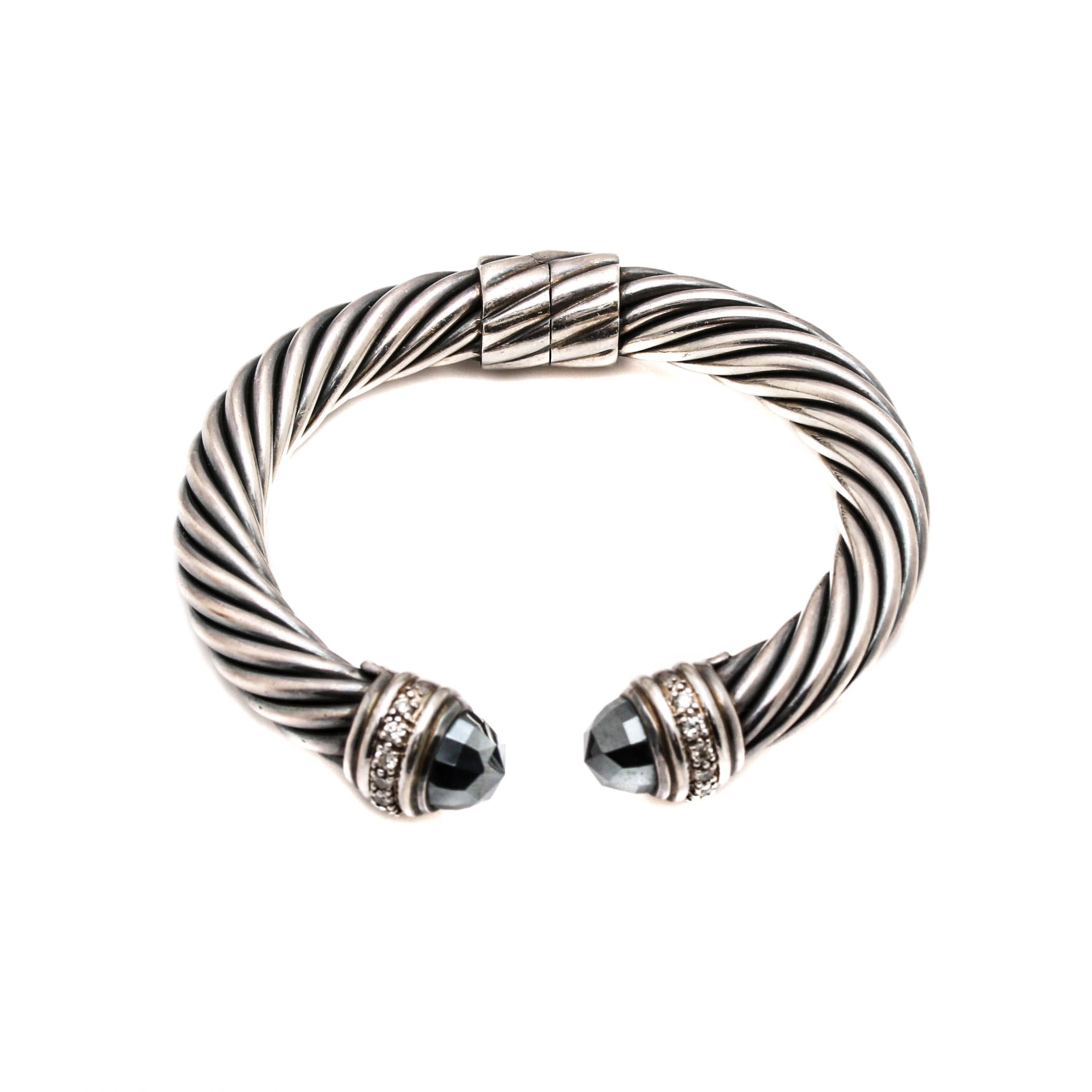 David Yurman Sterling Silver Hematite and Diamond Hinged Bracelet