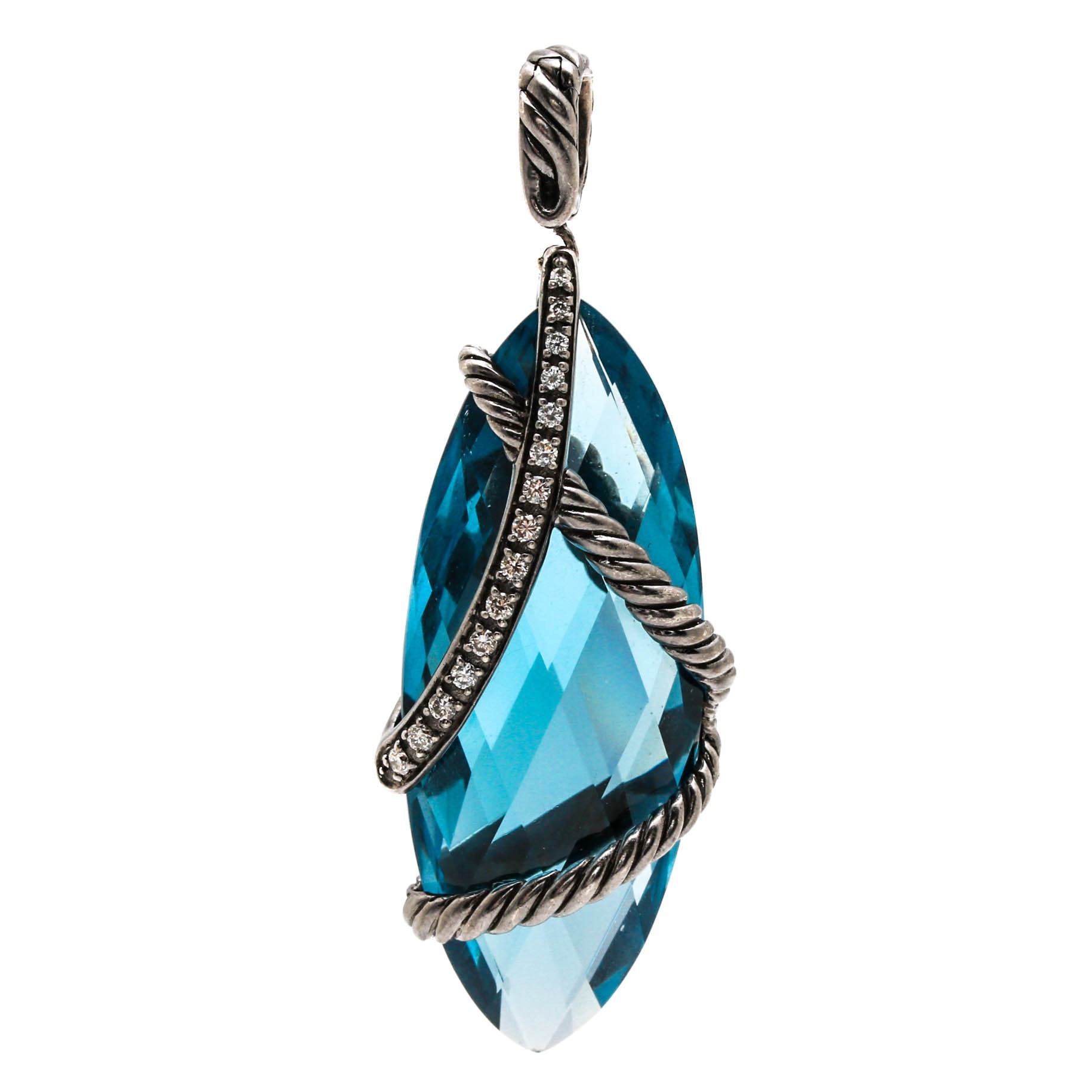 "David Yurman Sterling Silver ""Cable Wrap"" London Blue Topaz and Diamond Pendant"