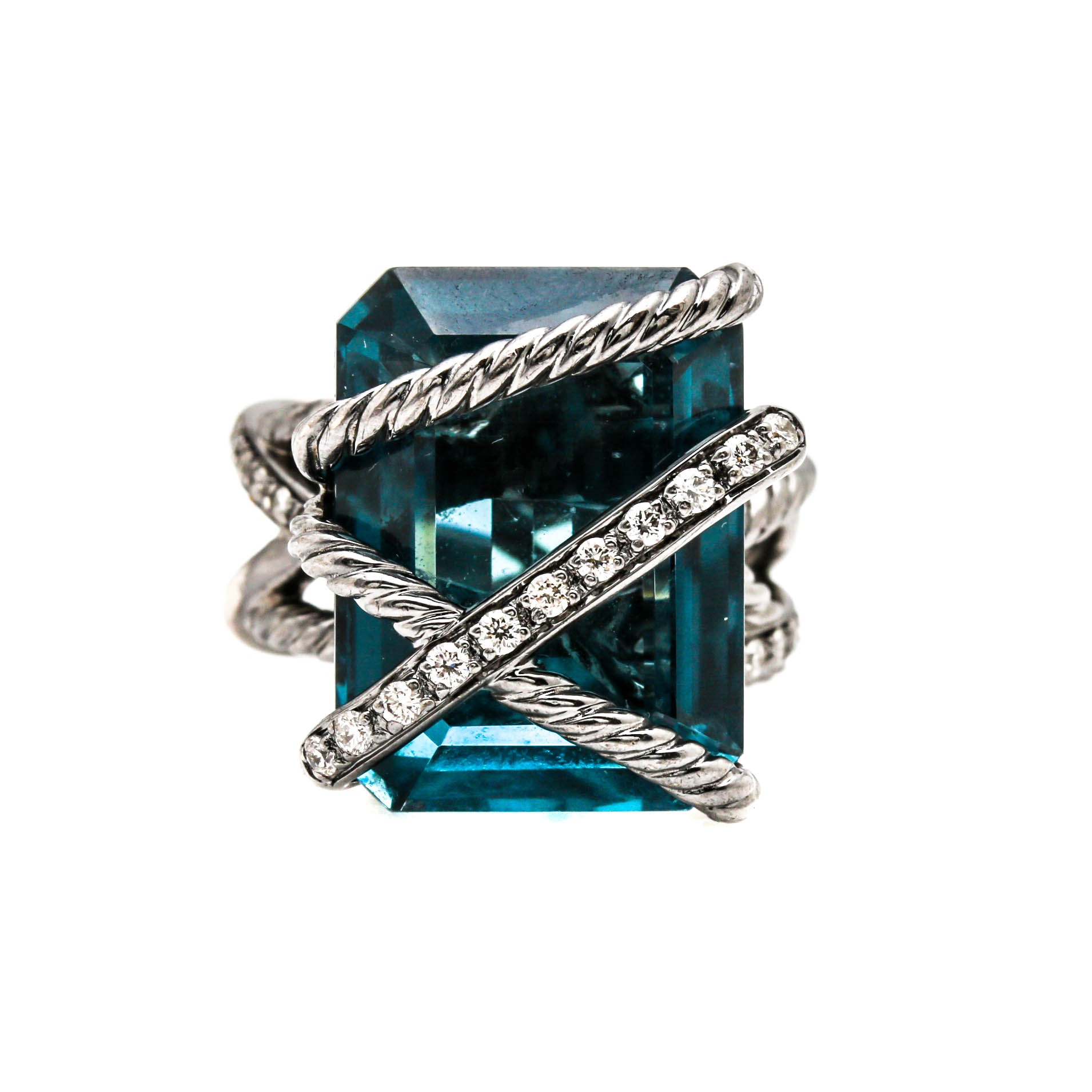 "David Yurman Sterling Silver ""Cable Wrap"" London Blue Topaz and Diamond Ring"