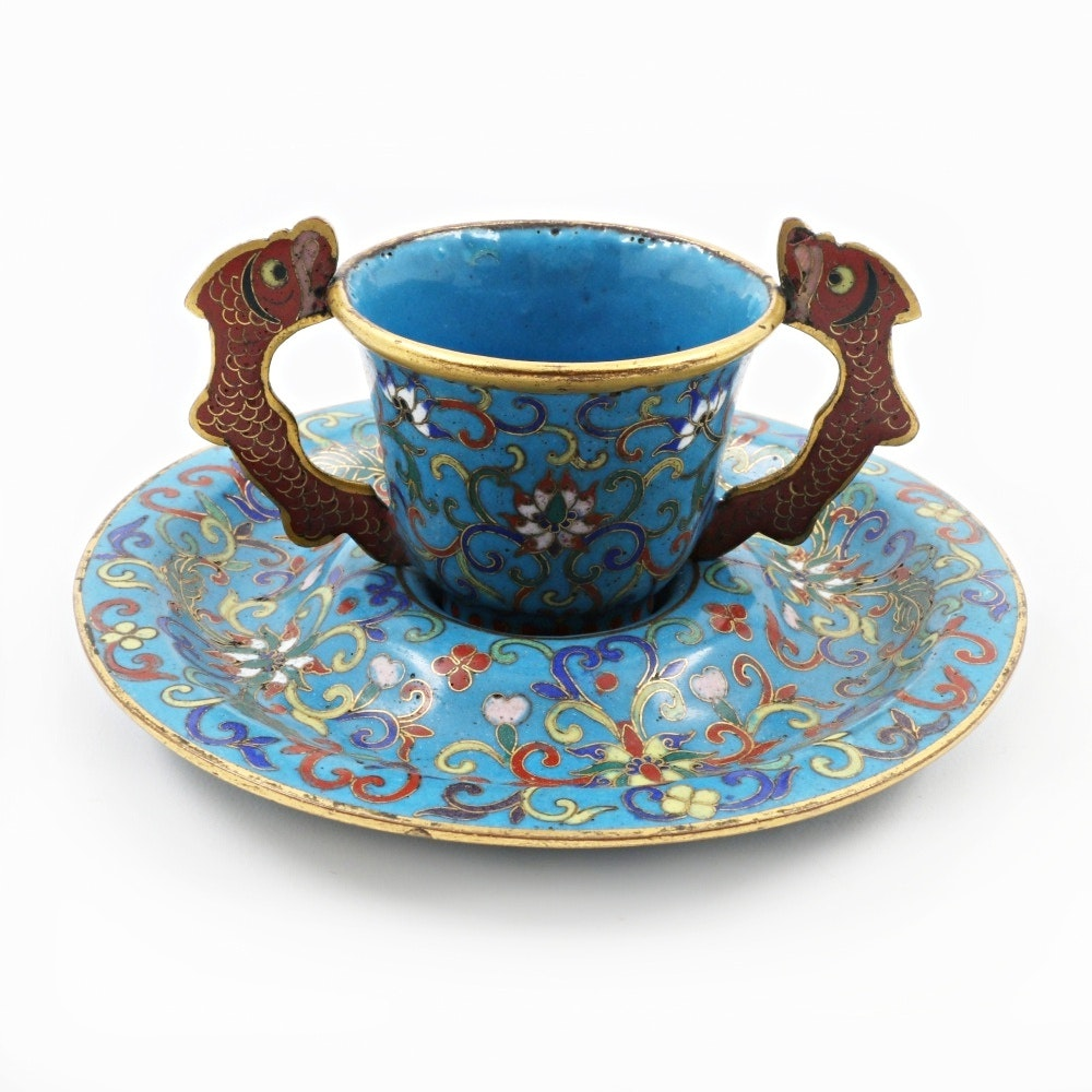 Antique Qing Dynasty Chinese Cloisonné Cup and Saucer