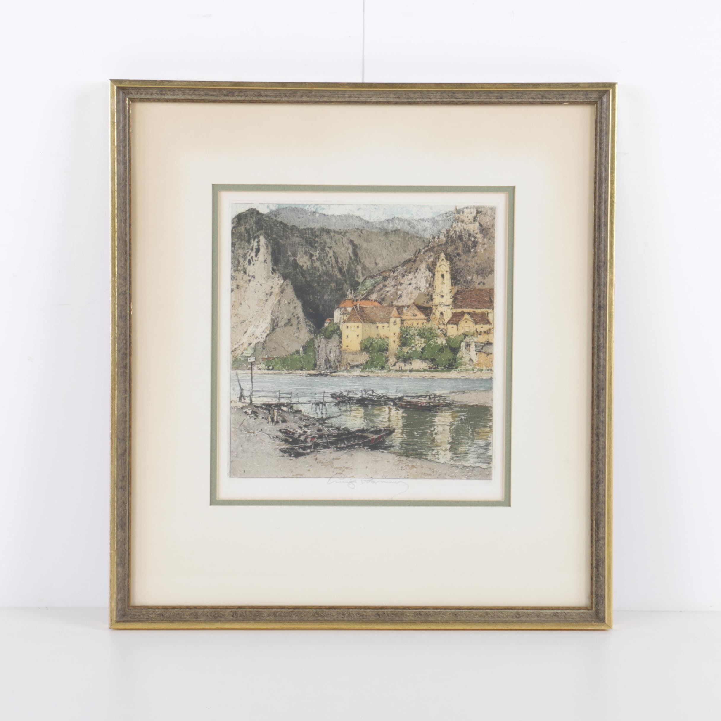 "Luigi Kasimir Hand Colored Etching on Paper ""Duernstein on the Danube"""