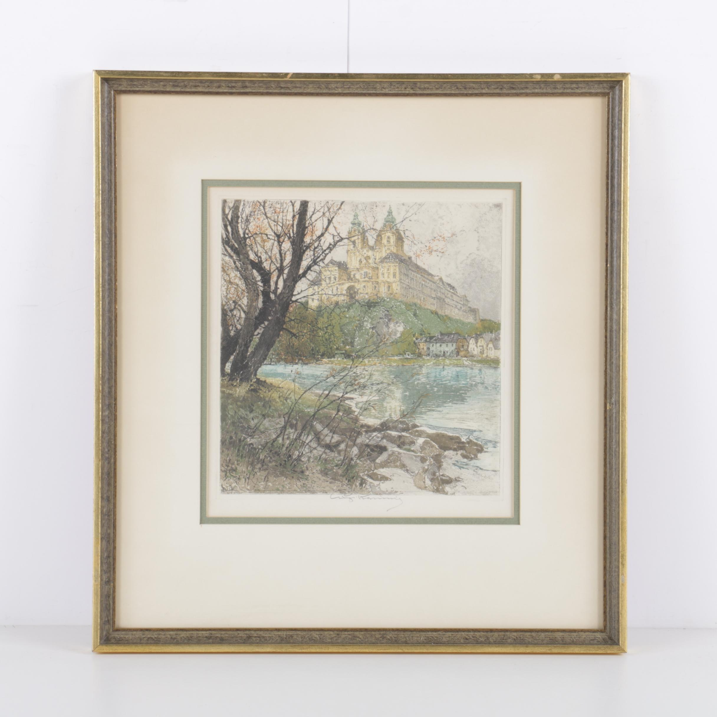 "Luigi Kasimir Color Etching with Aquatint on Paper ""Melk on the Danube"""