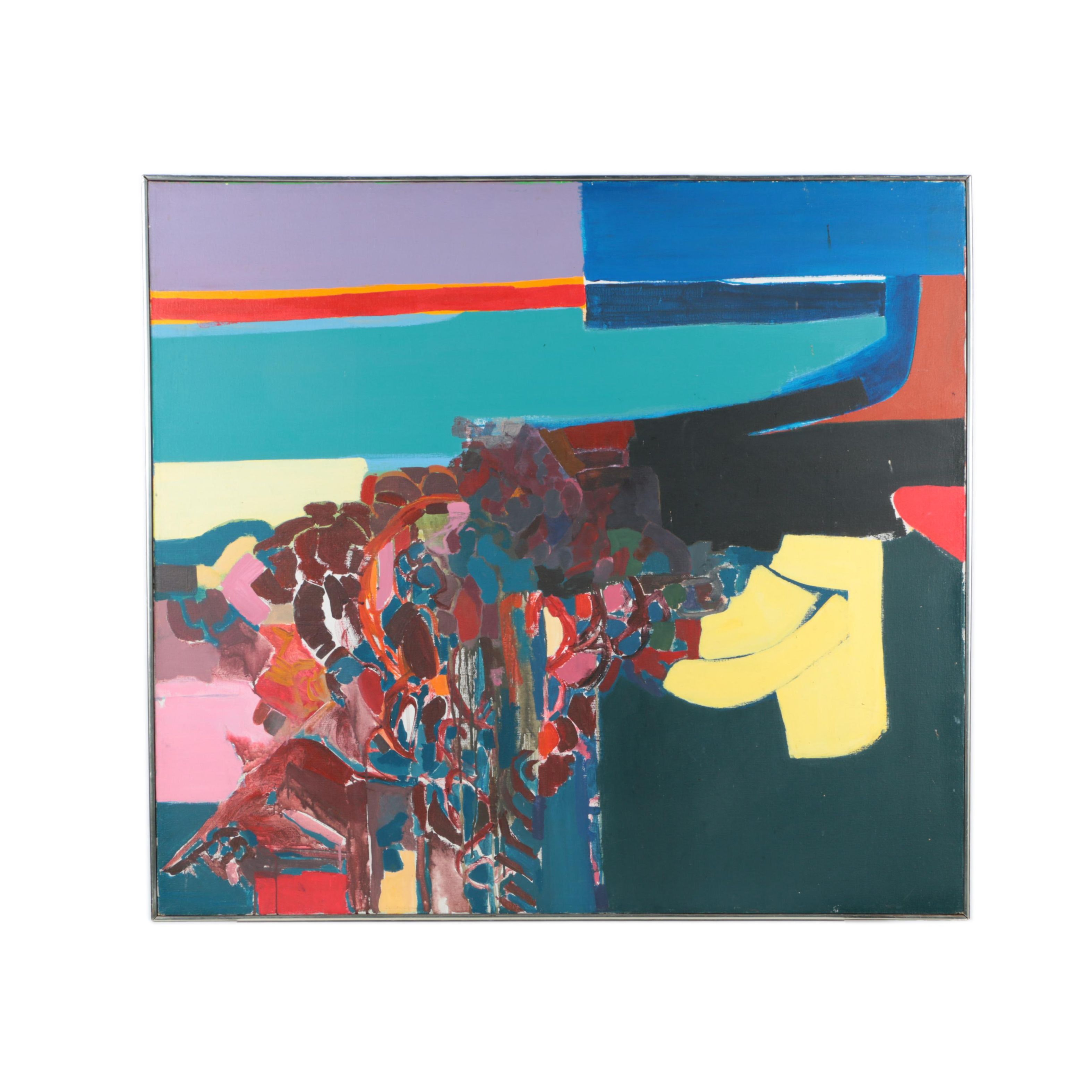 Susan Mitnick Acrylic Painting on Canvas of Abstract Composition