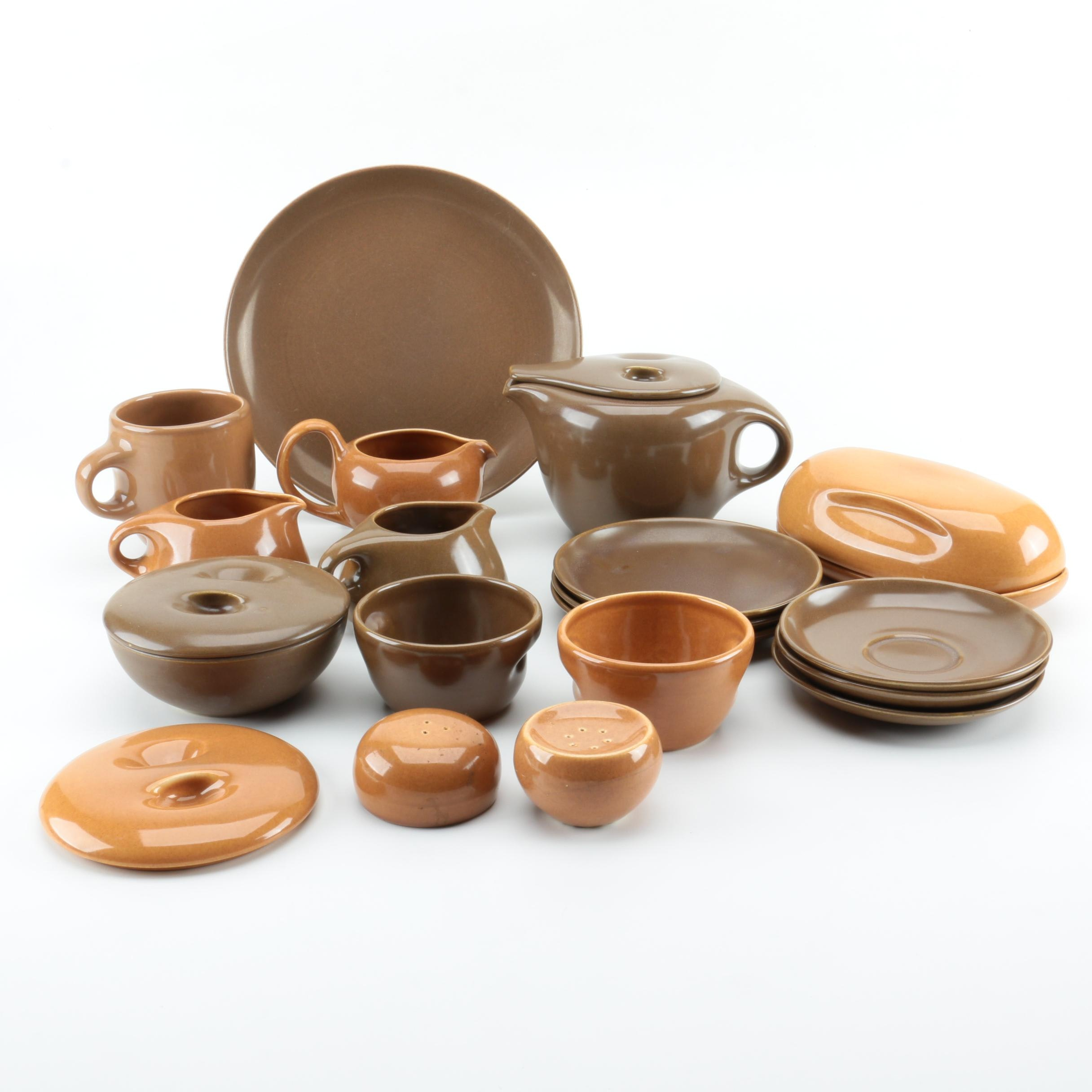 Vintage Iroquois Casual Dinnerware by Russel Wright in Brown and Apricot 1950s