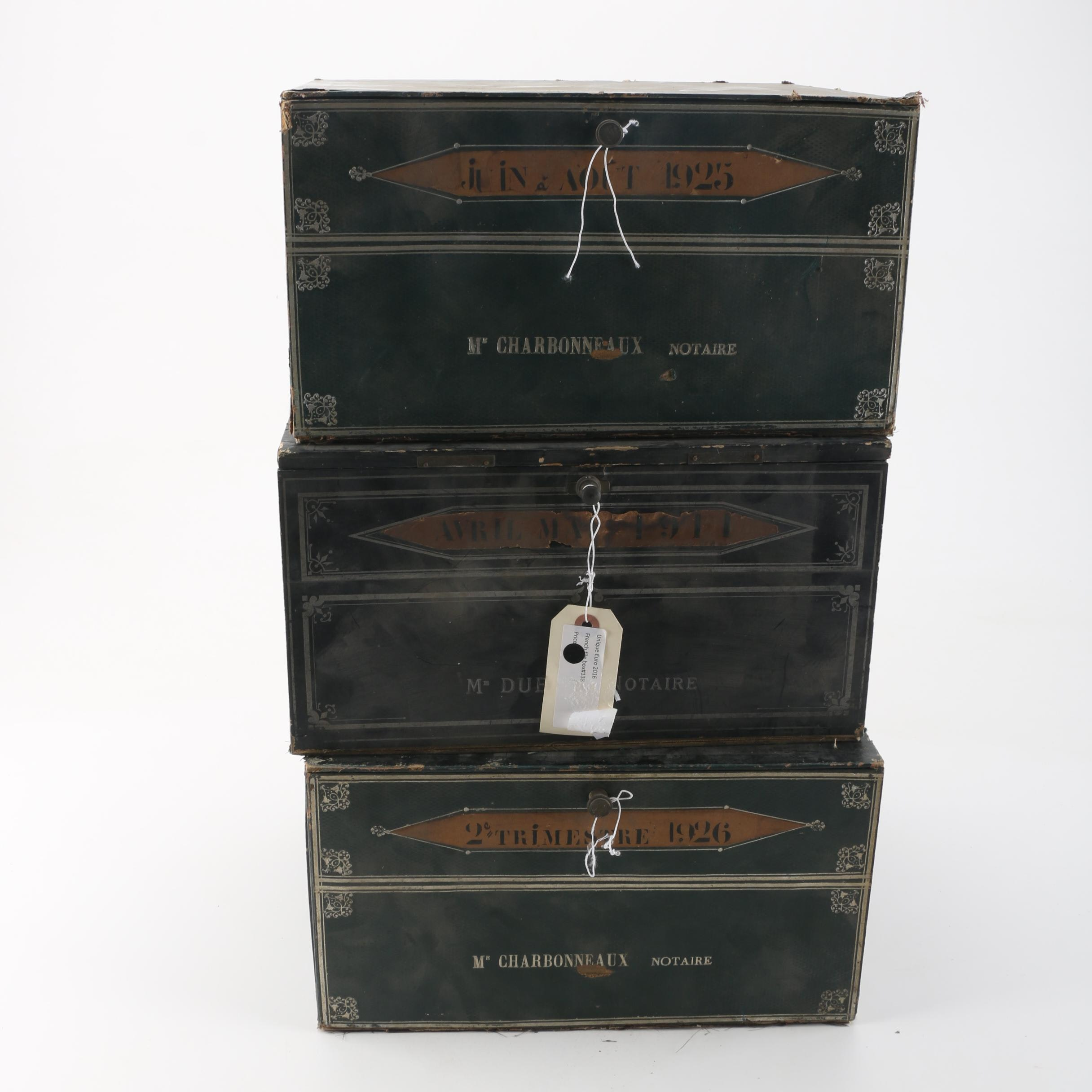 Vintage French Cardboard File Boxes