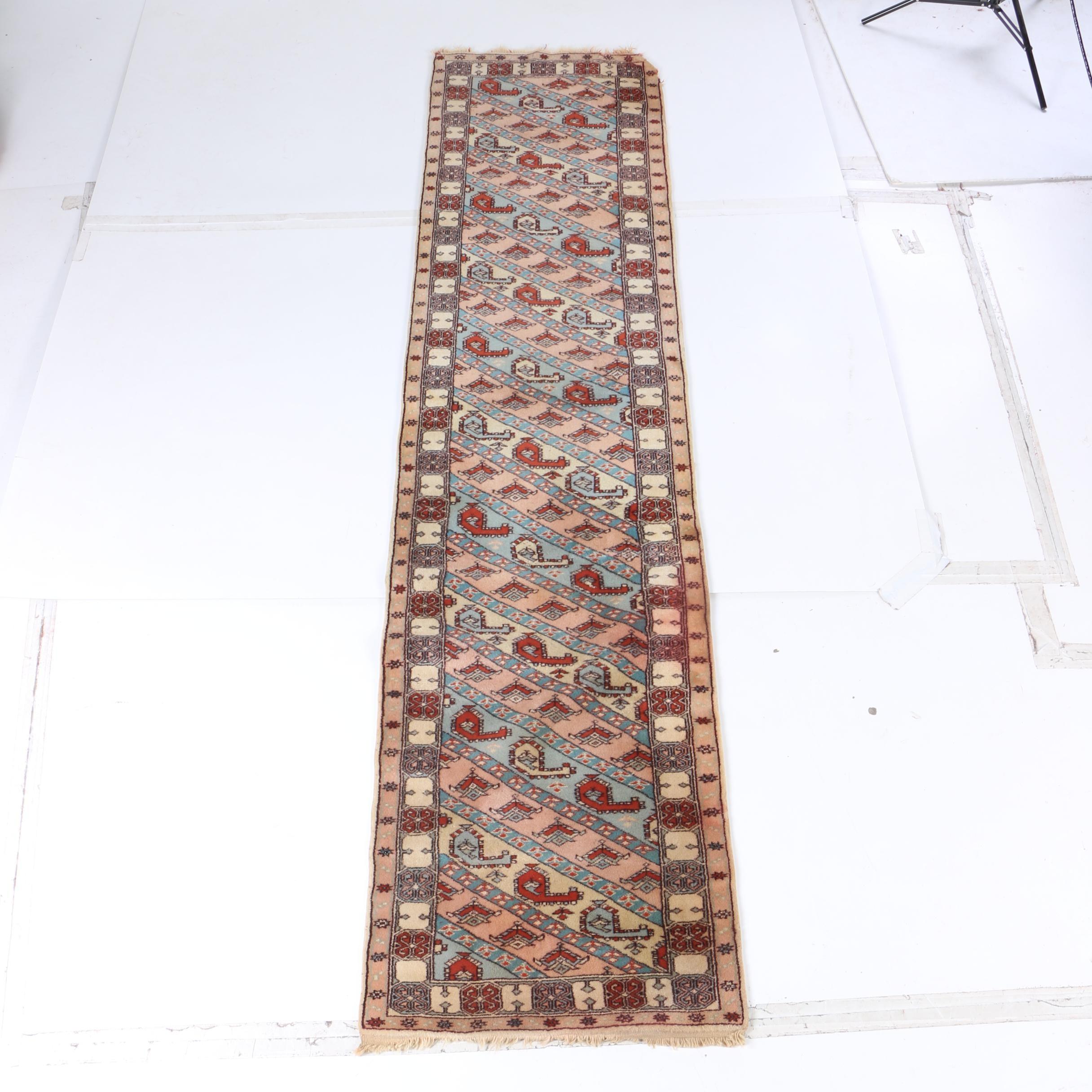 Hand-Knotted Caucasian Genje Wool Carpet Runner