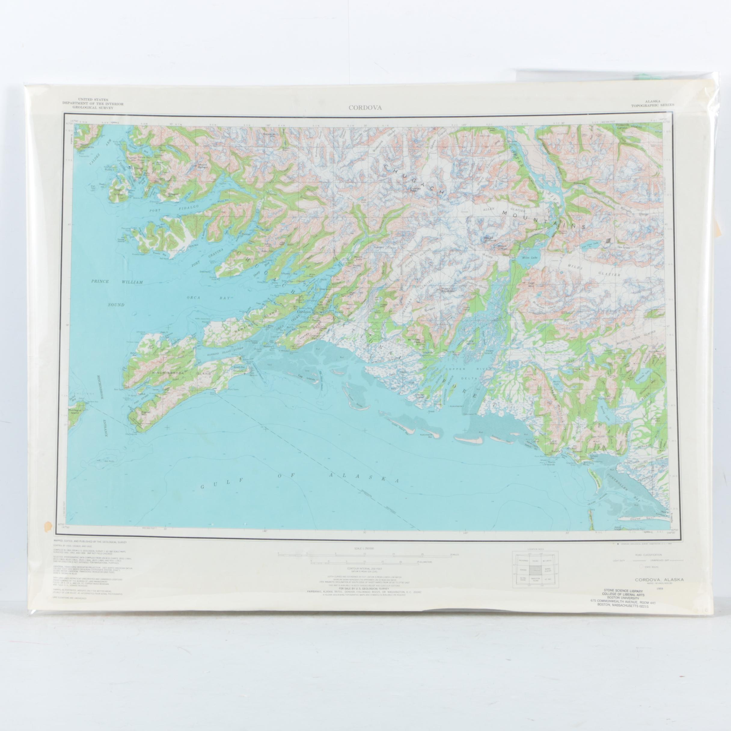 Topographical Map on Paper of Alaska