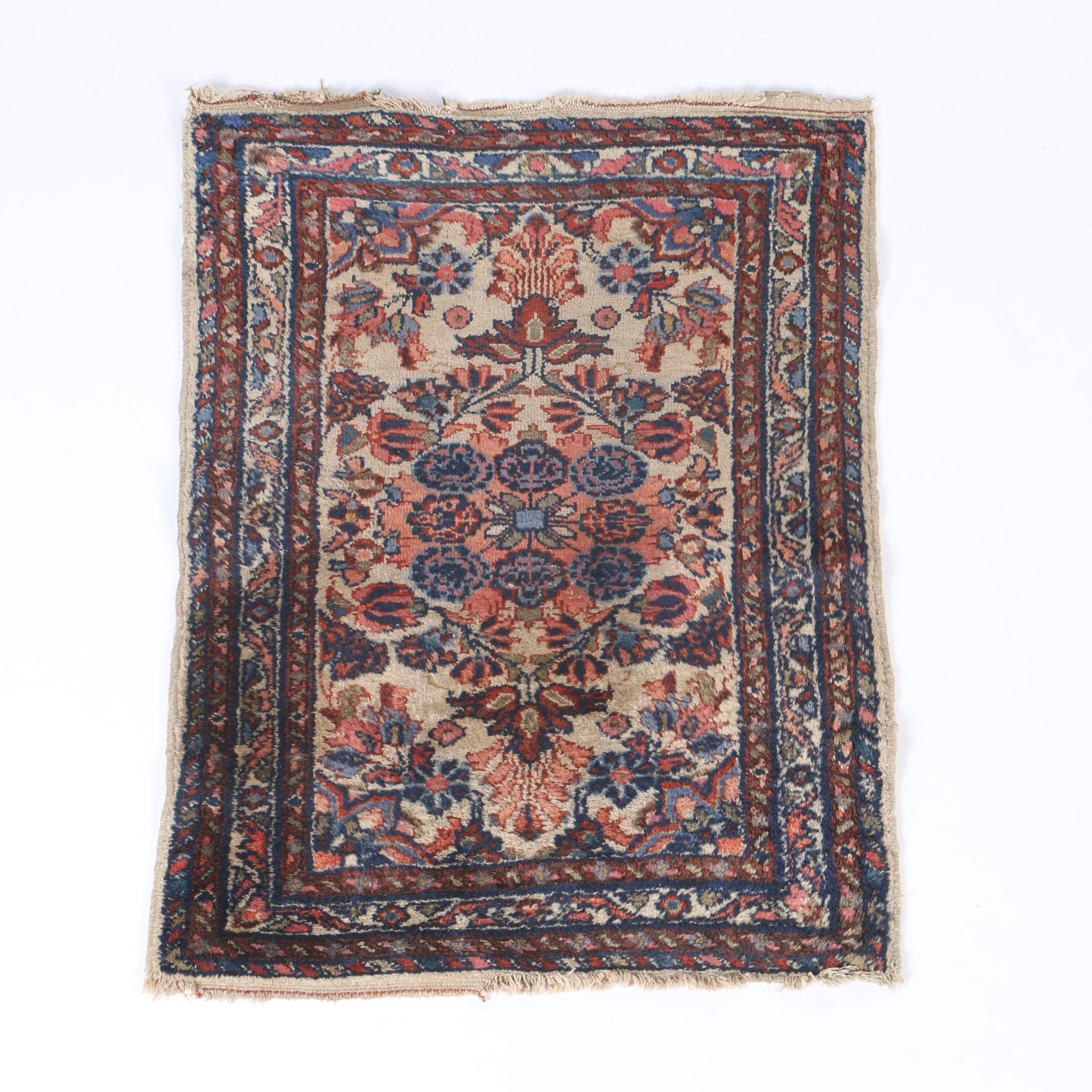 Semi-Antique Hand-Knotted Persian Sarouk Accent Rug