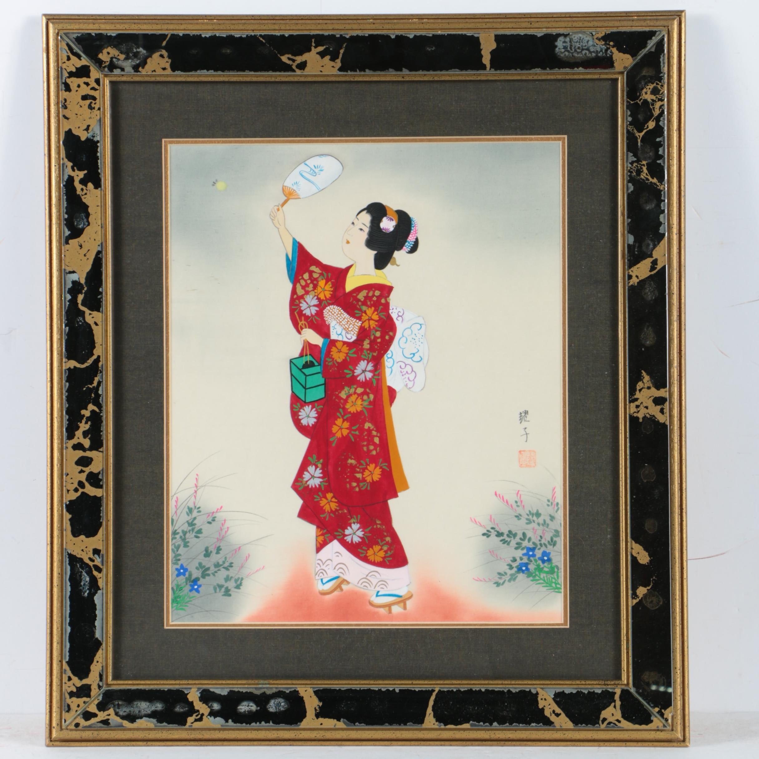 East Asian Gouache Painting of a Woman on Silk