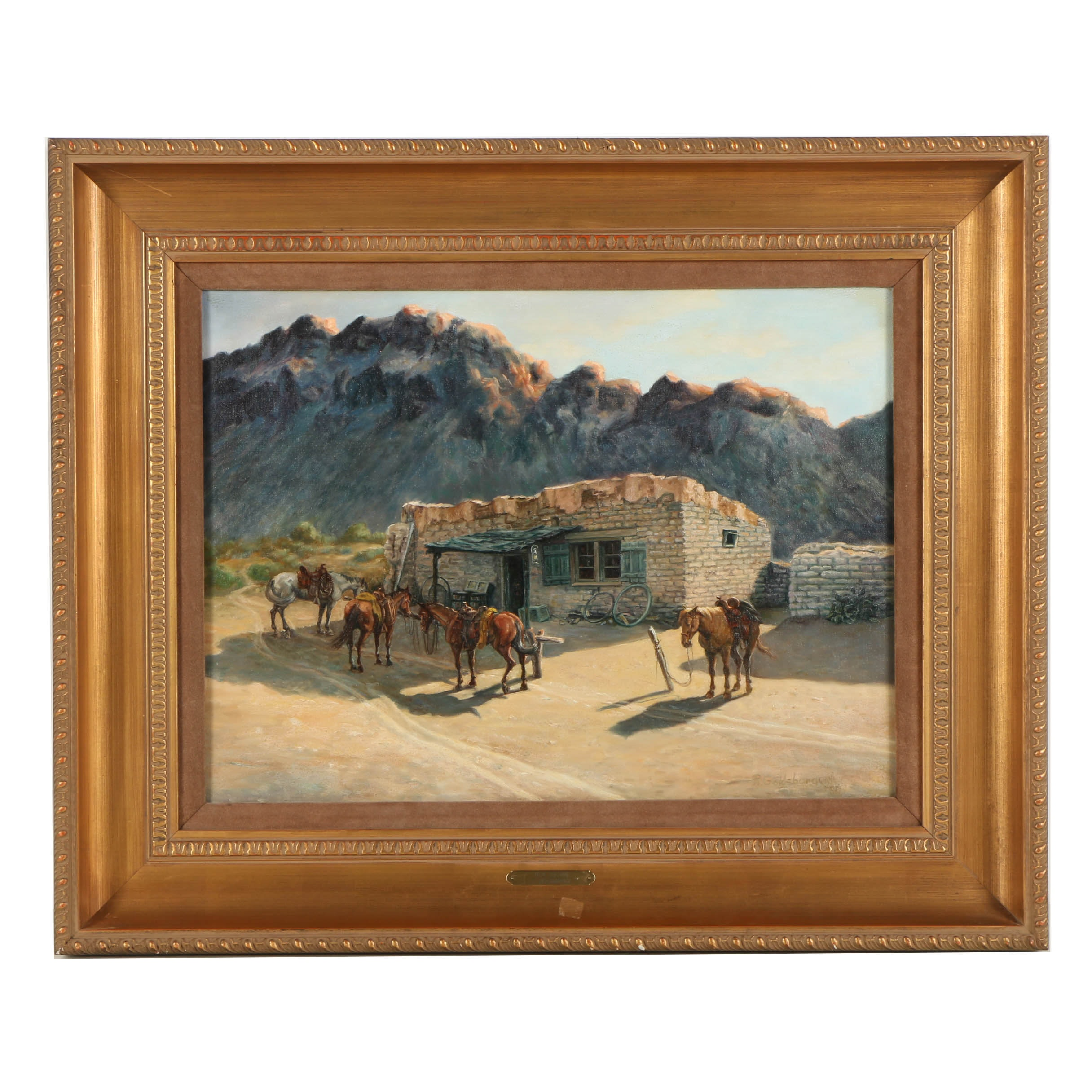 "Ruth Goldsborough Oil Painting on Canvas ""Old Tucson"""