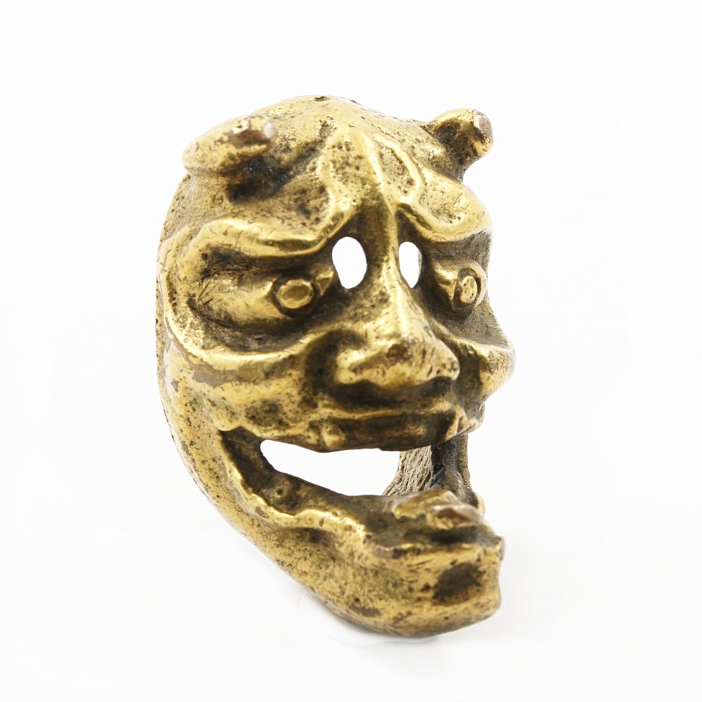 Japanese Gilt Bronze Demon Mask Netsuke