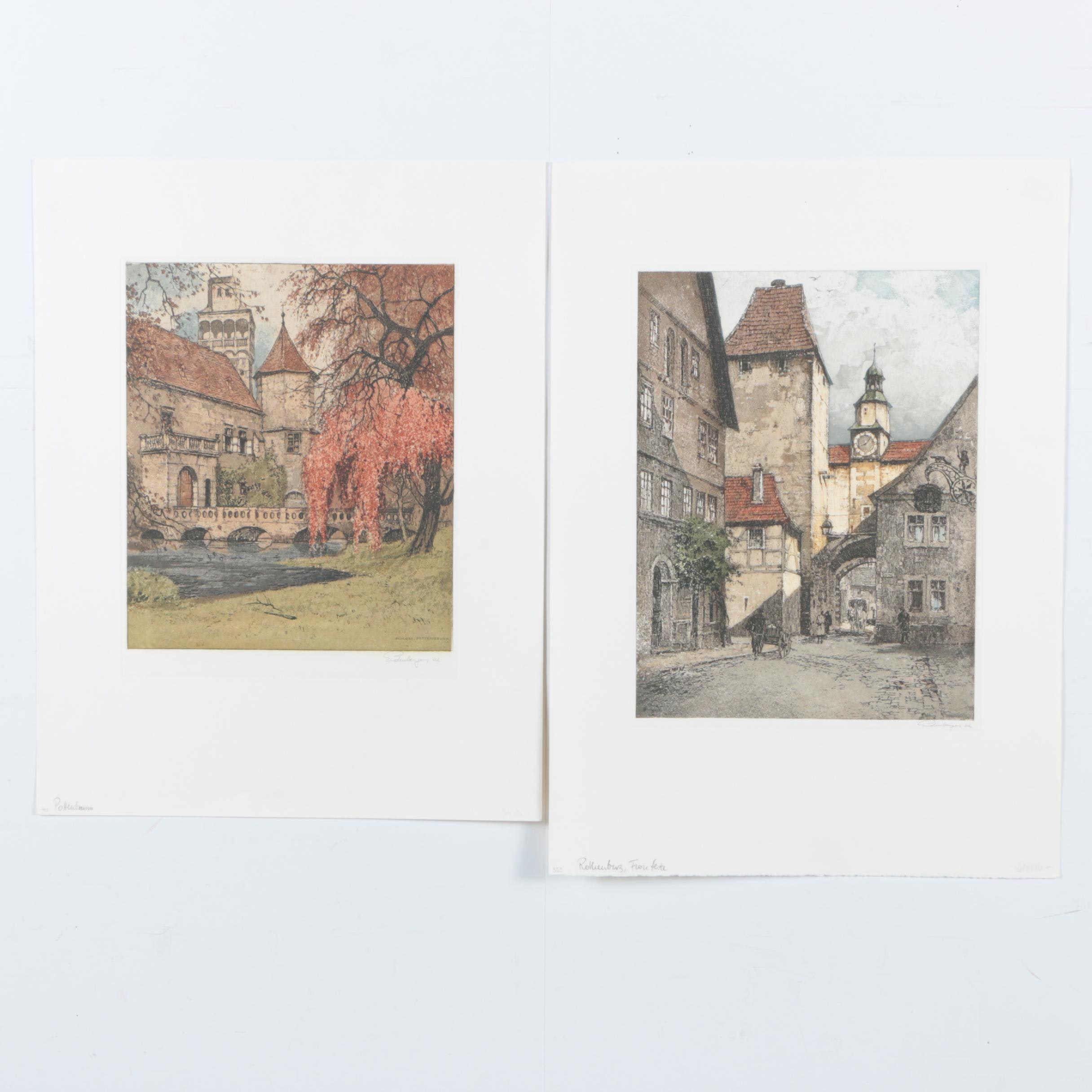 Josef Eidenberger Color Etchings on Paper