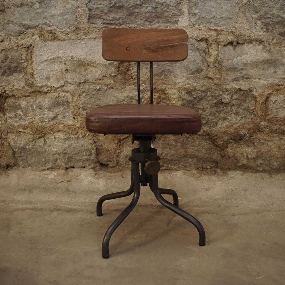 Industrial Wood and Metal Drafting Style Chairs