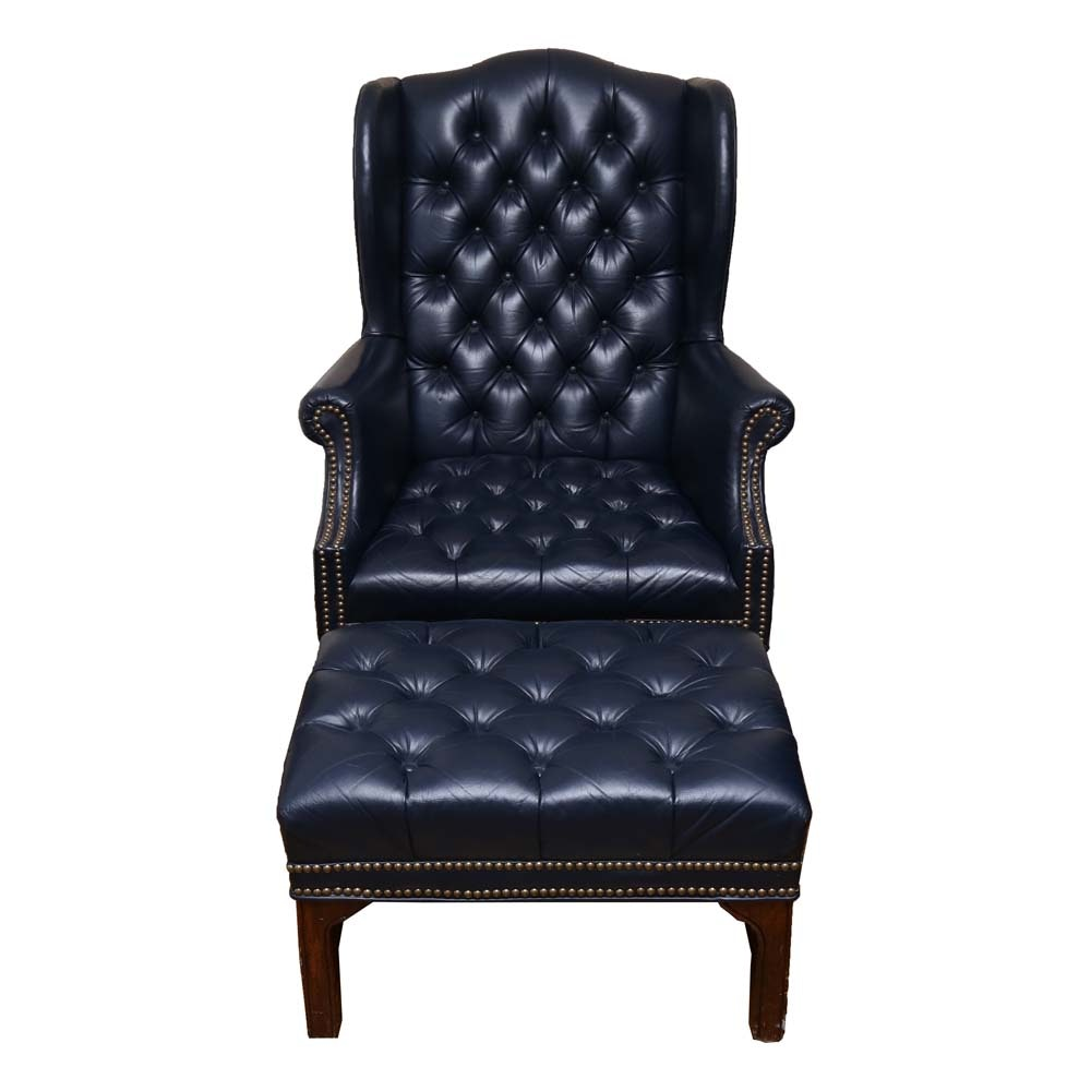Chippendale Style Chesterfield Leather Tufted Wingback Chair And Ottoman ...