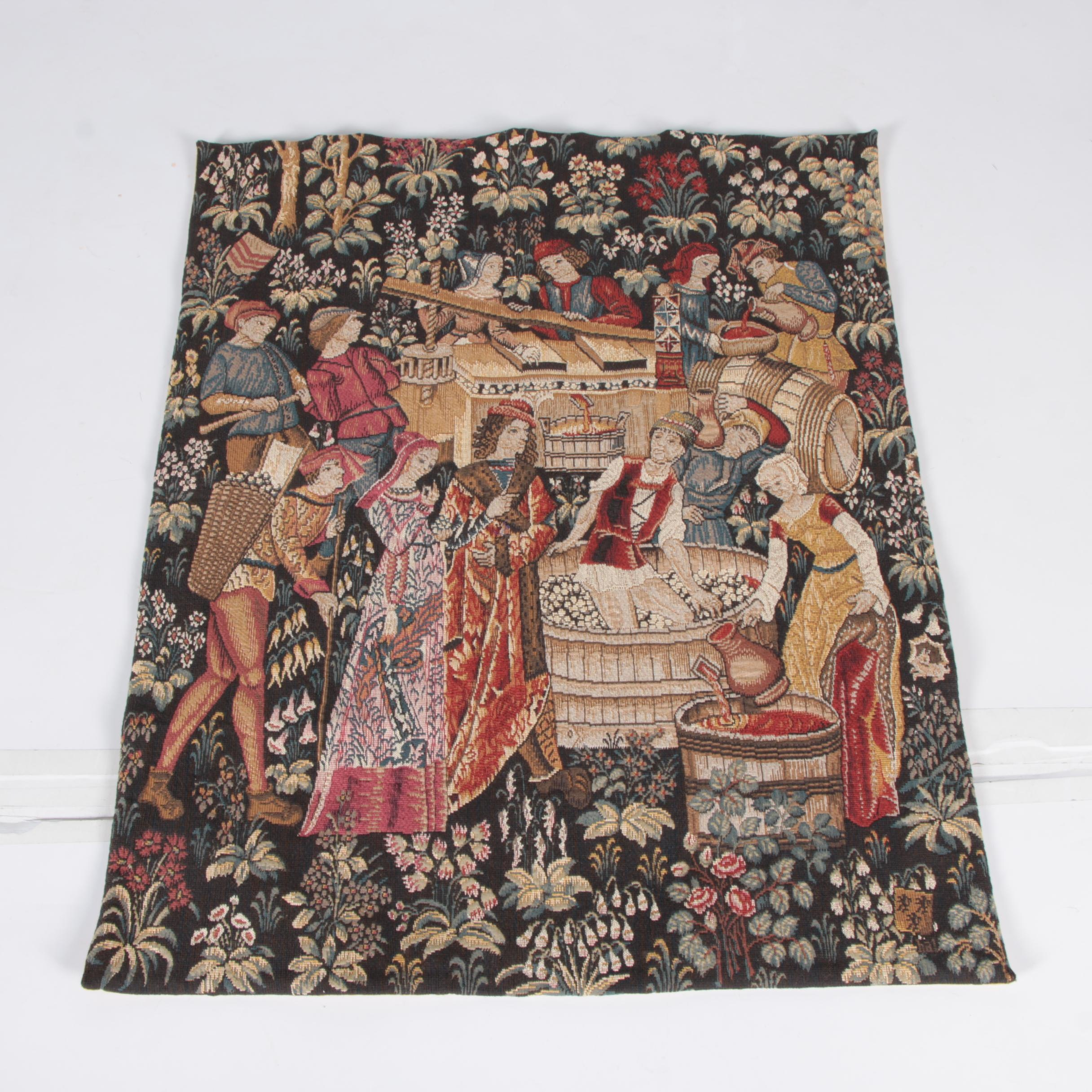 """Handwoven French Tapestry """"Vendanges"""" by Tapisserie d' Halluin"""