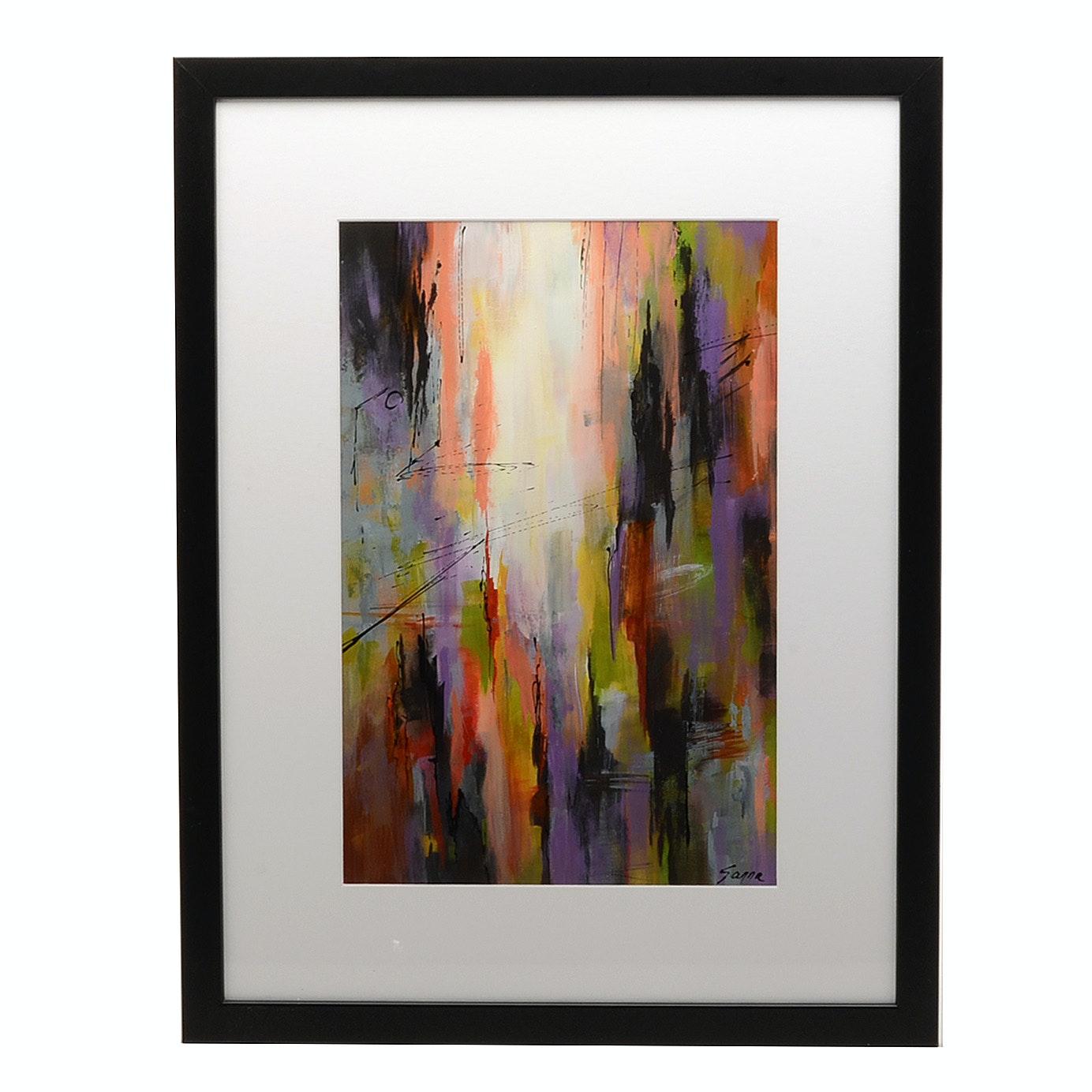 Sanna Abstract Acrylic Painting 'Journey Through Town'