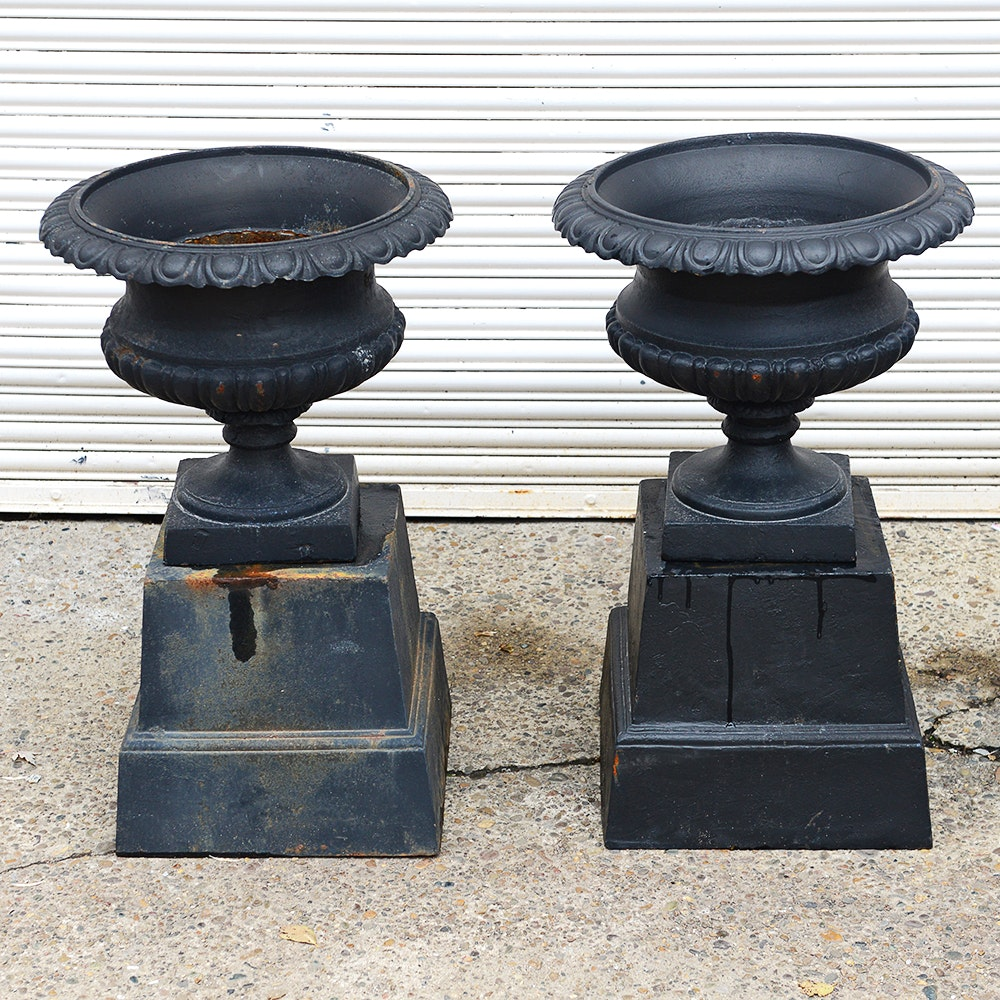 Iron Urns with Bases