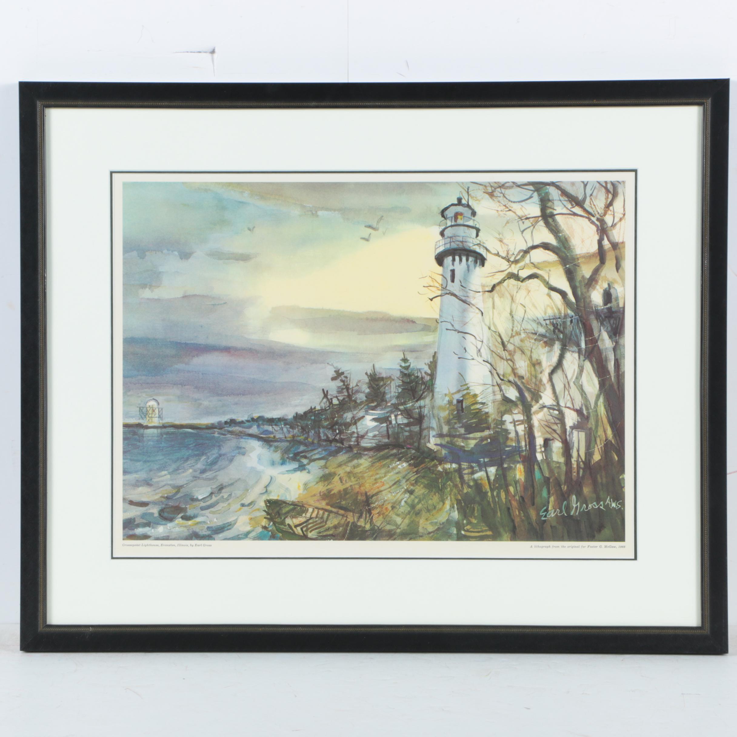 Offset Lithograph After Earl Gross of a Lighthouse