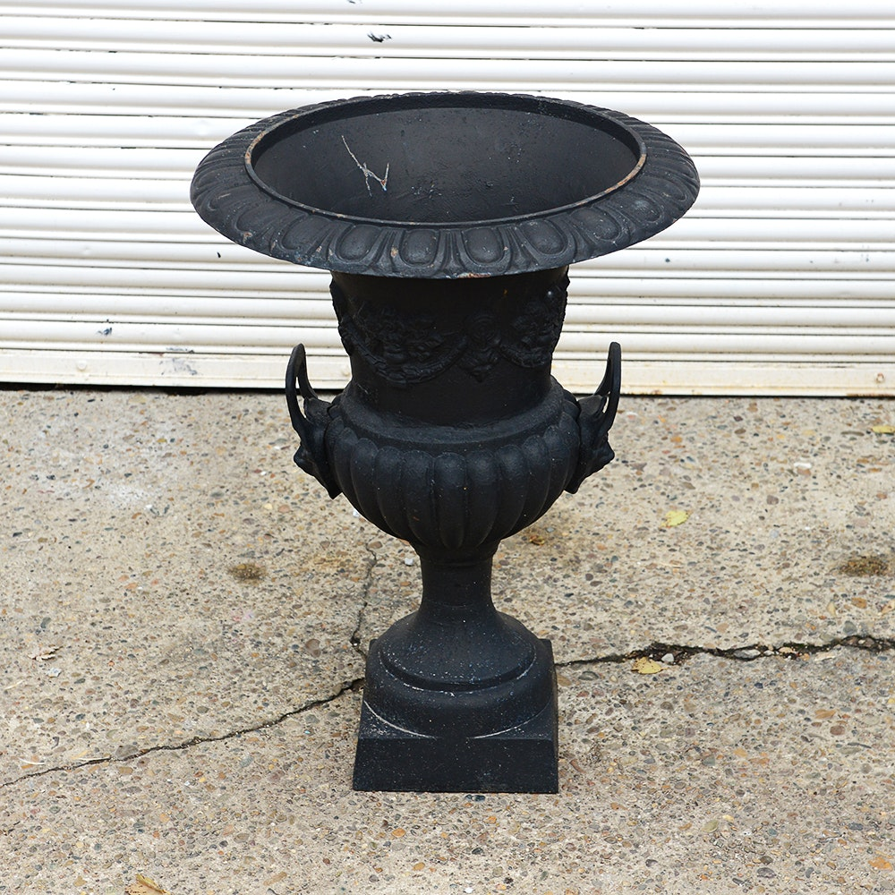 Cast Iron Urn With Lion Head Handles
