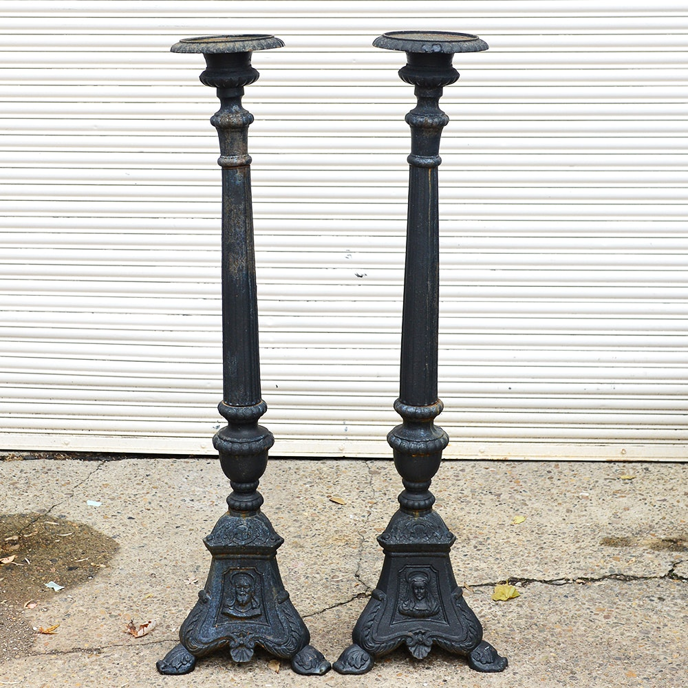 Pair of Tall Iron Candlesticks
