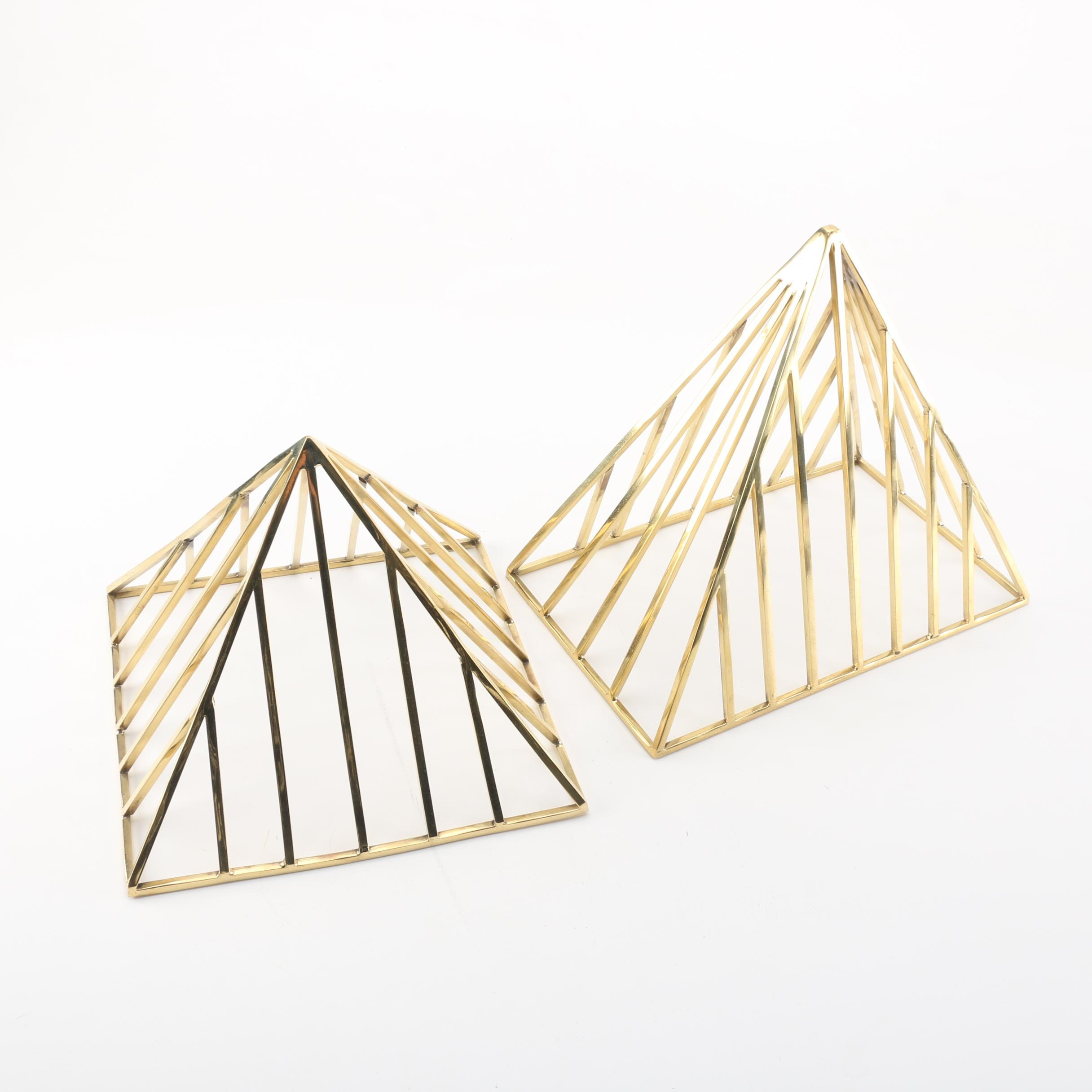 Brass Tone Pyramid Decor