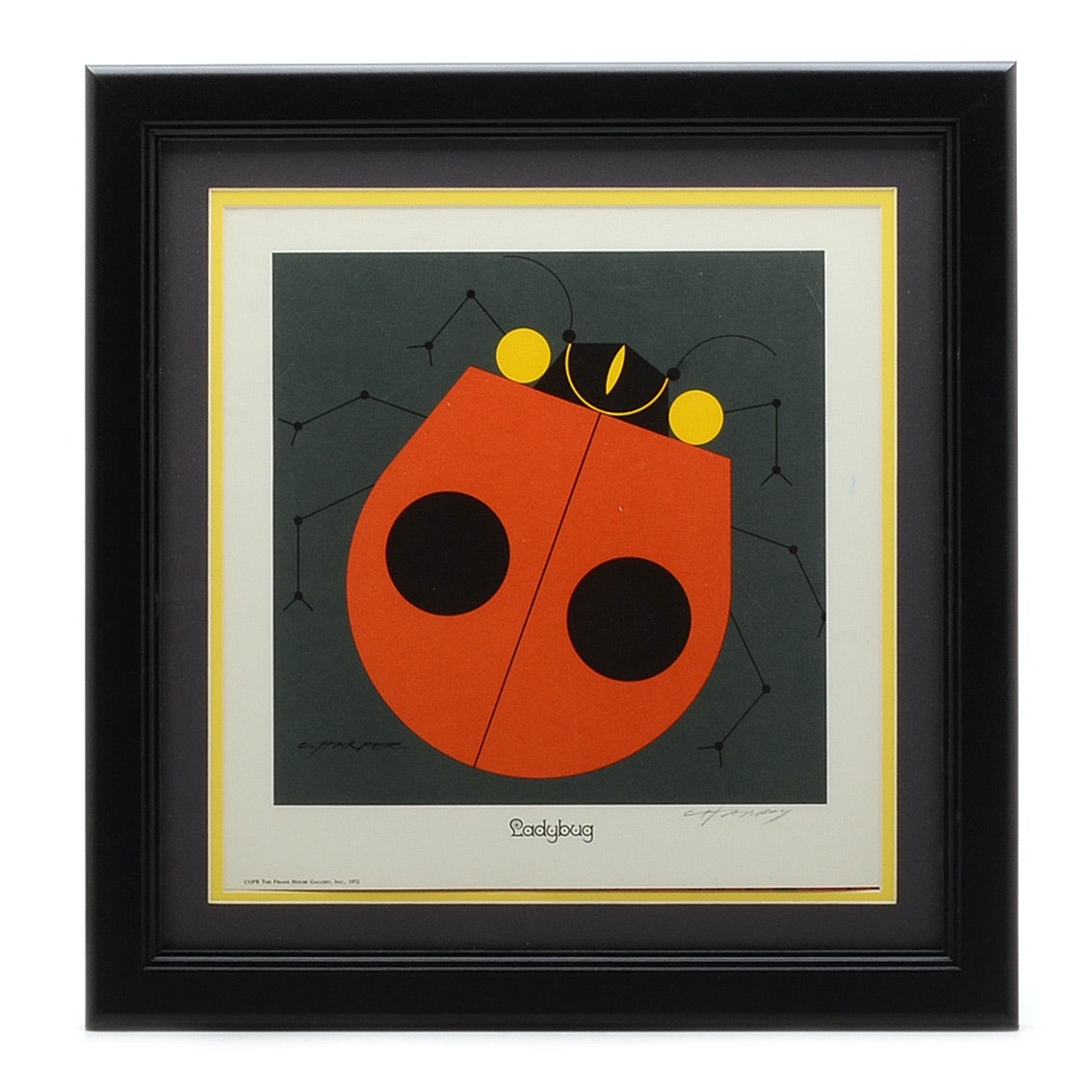 "Signed Open Edition Charley Harper Lithograph ""Ladybug"""