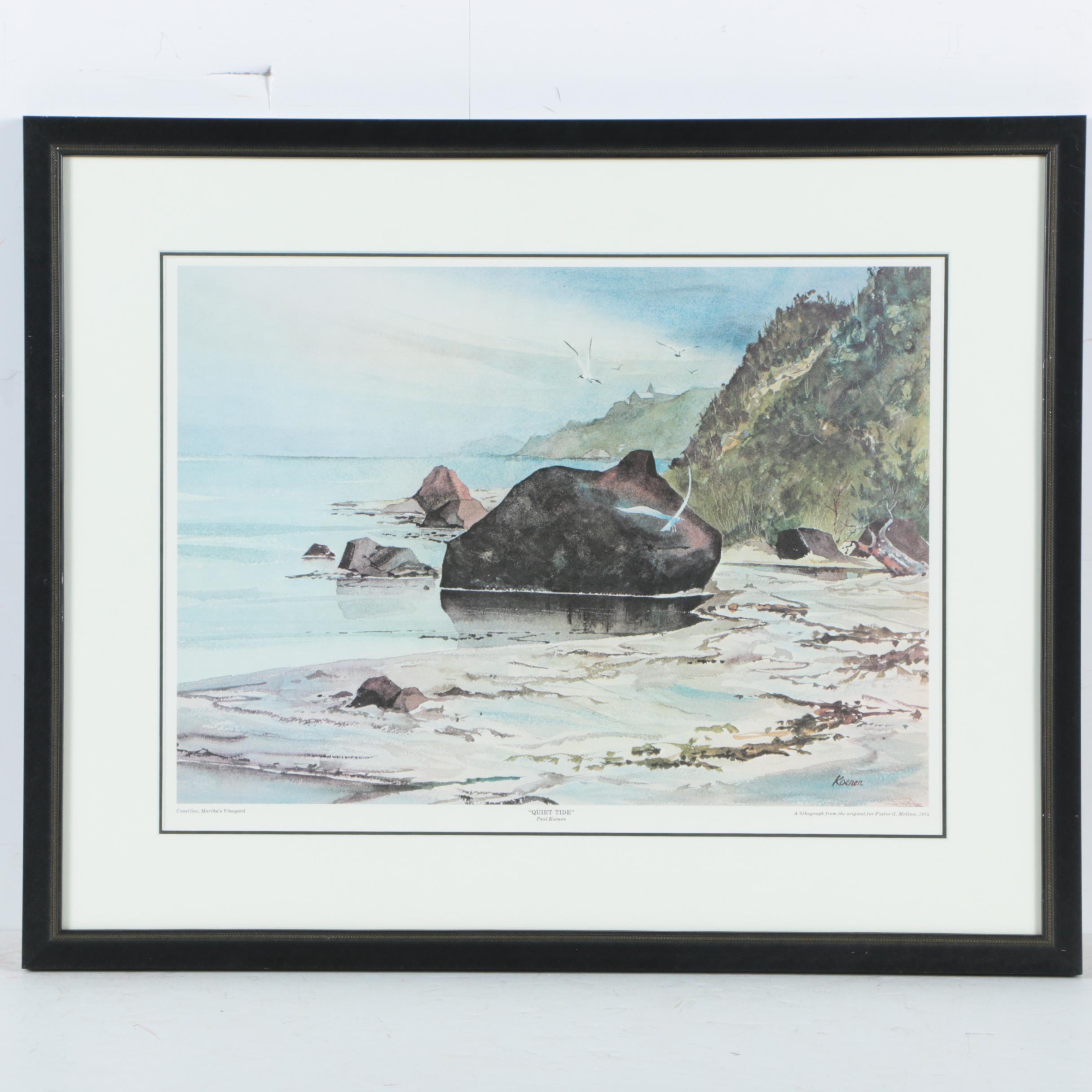 "Offset Lithograph on Paper After Paul Koenen ""Quiet Tide"""