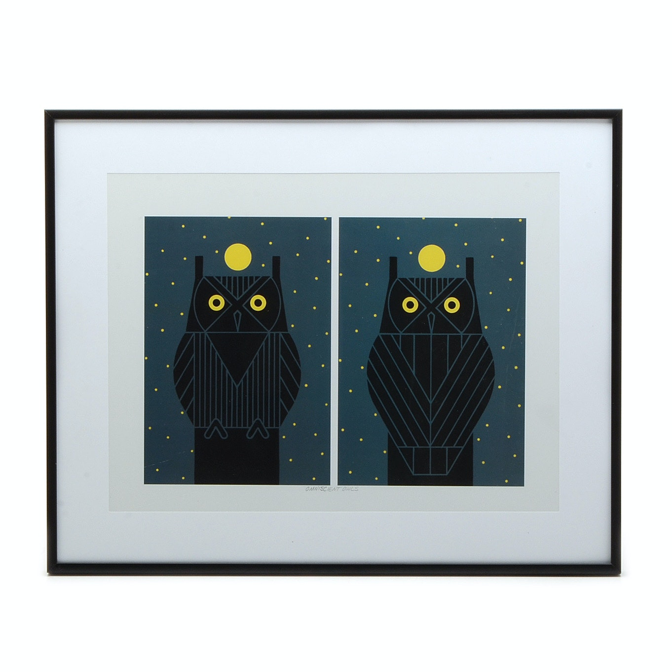 "Offset Lithograph after Charley Harper ""Omniscient Owls"""