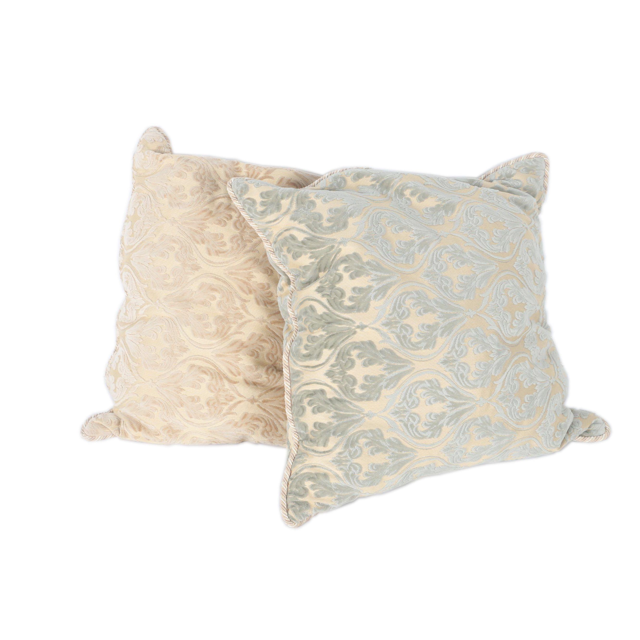 Large Chenille Damask Decorative Pillows