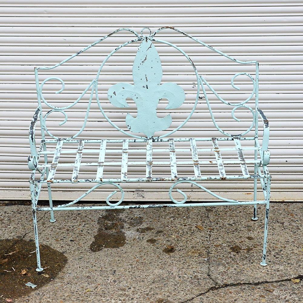 Mid-Century Metal Bench with Fleur-De-Lis Motif