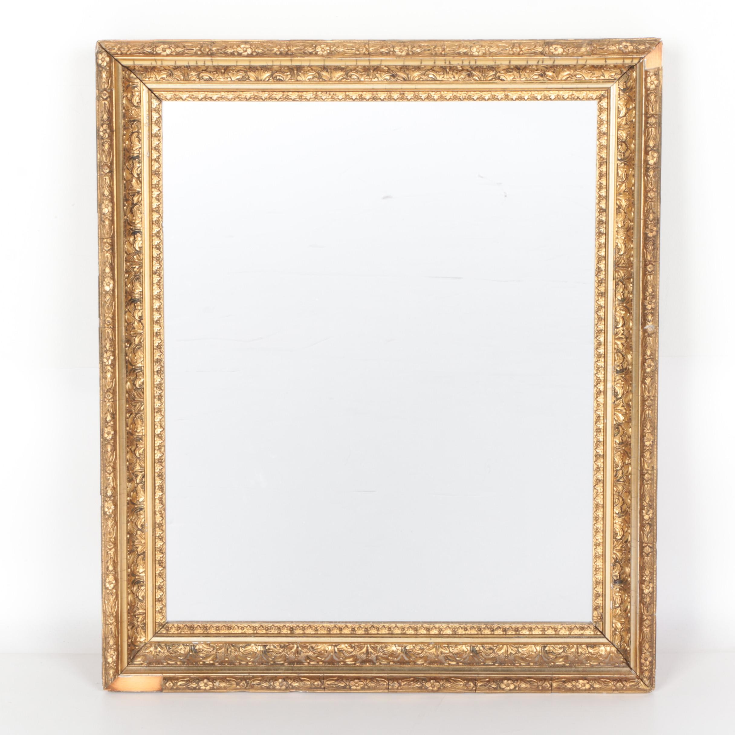 Wall Mirror with Gold Tone Carved Wood Frame