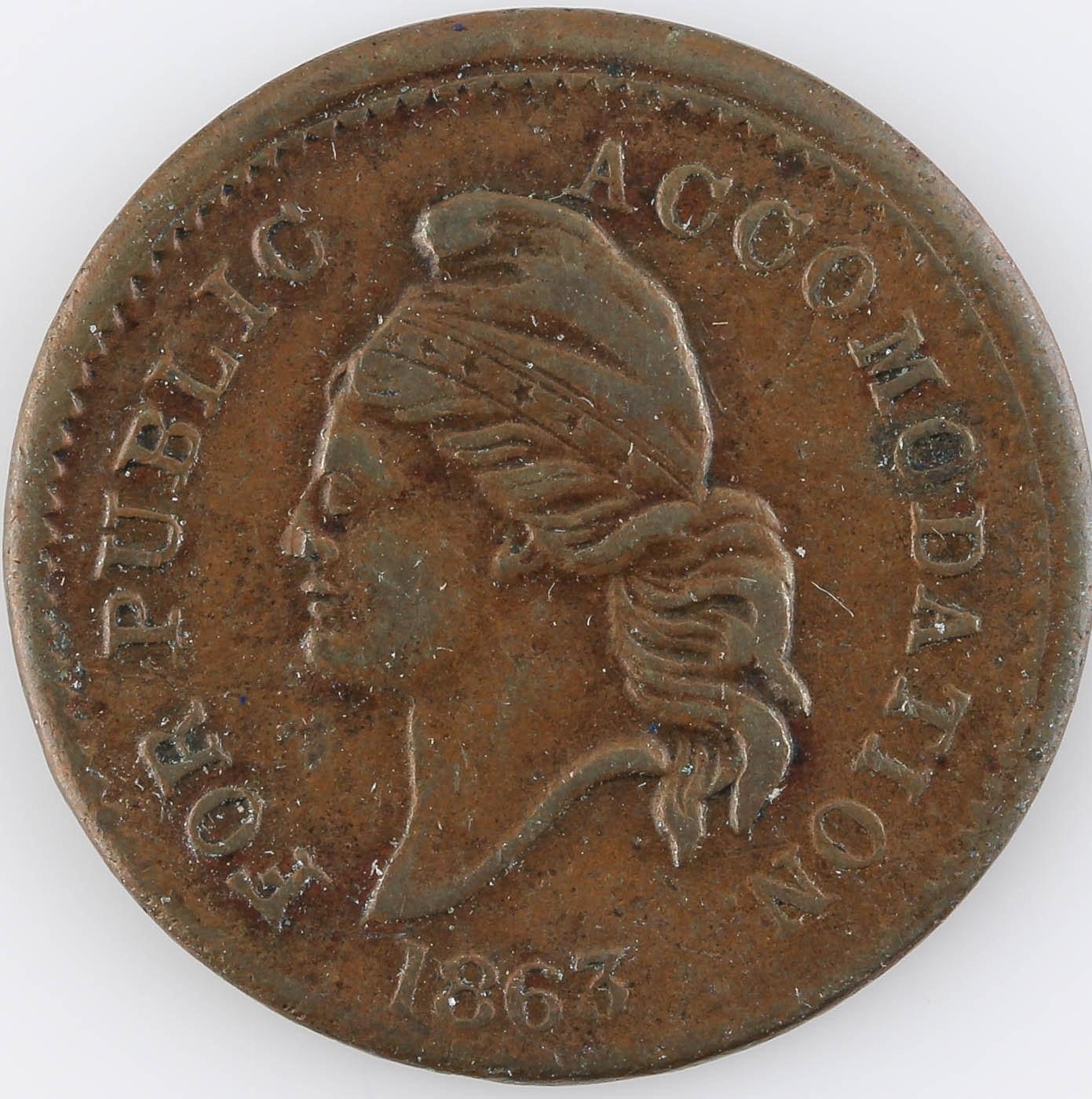 "1863 Civil War Era Token ""Knickerbocker Currency"""