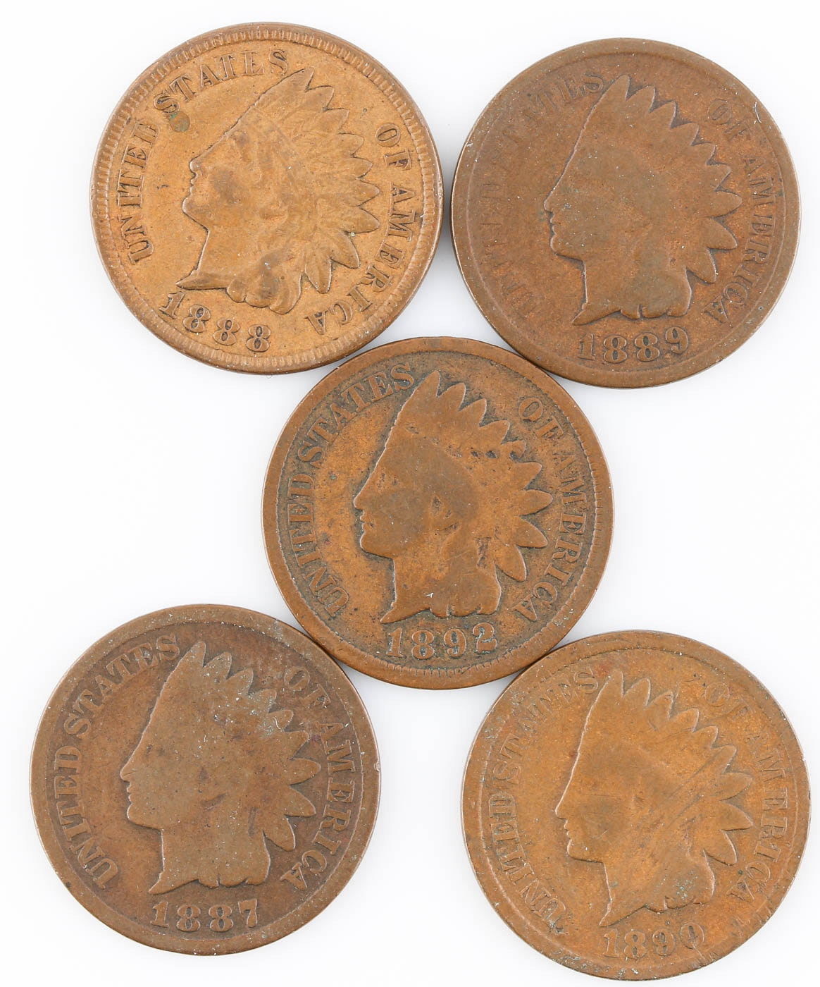 Group of Five Indian Head Cents: 1887, 1888, 1889, 1890, and 1892