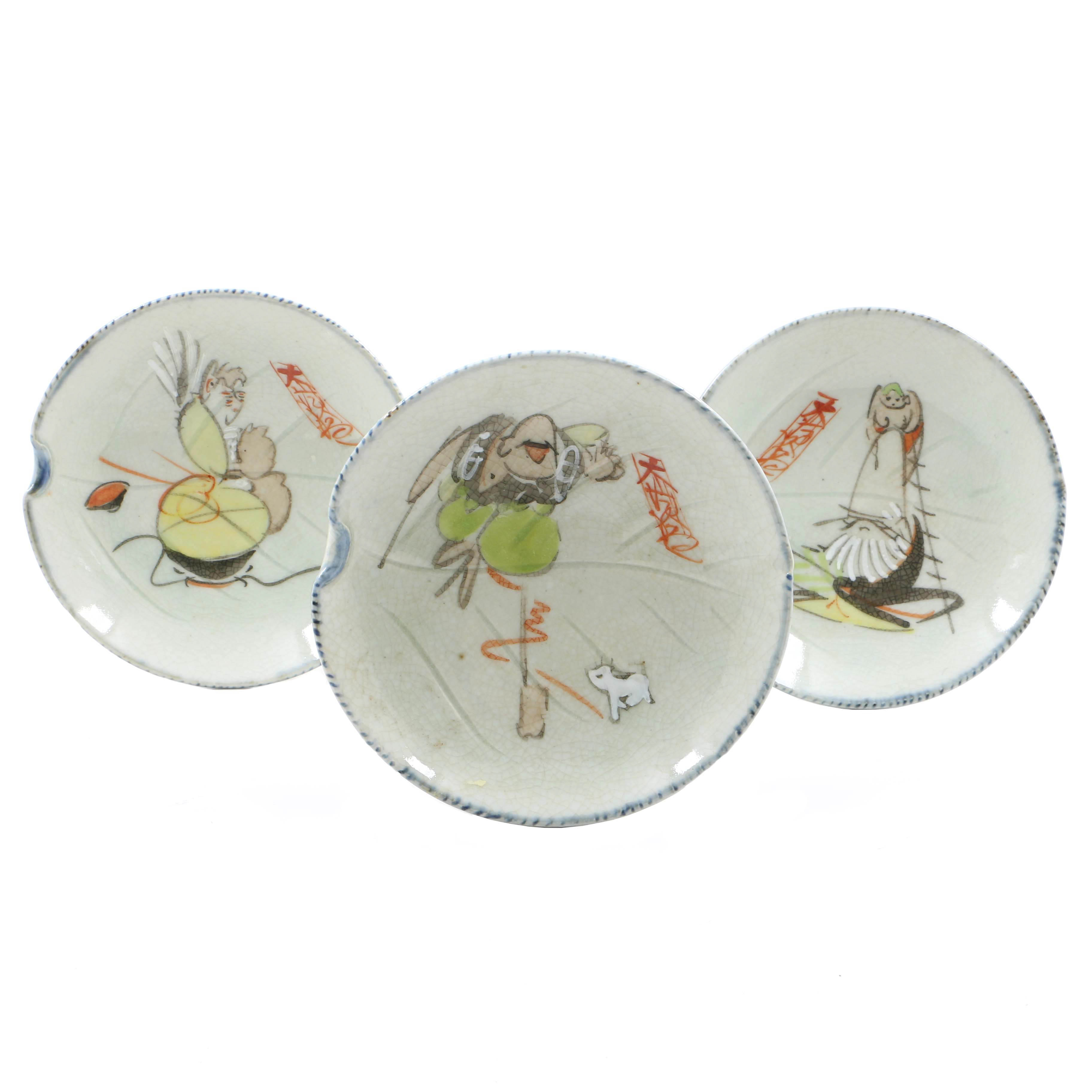 Three Japanese Hand-Painted Polychrome Saucer Dishes