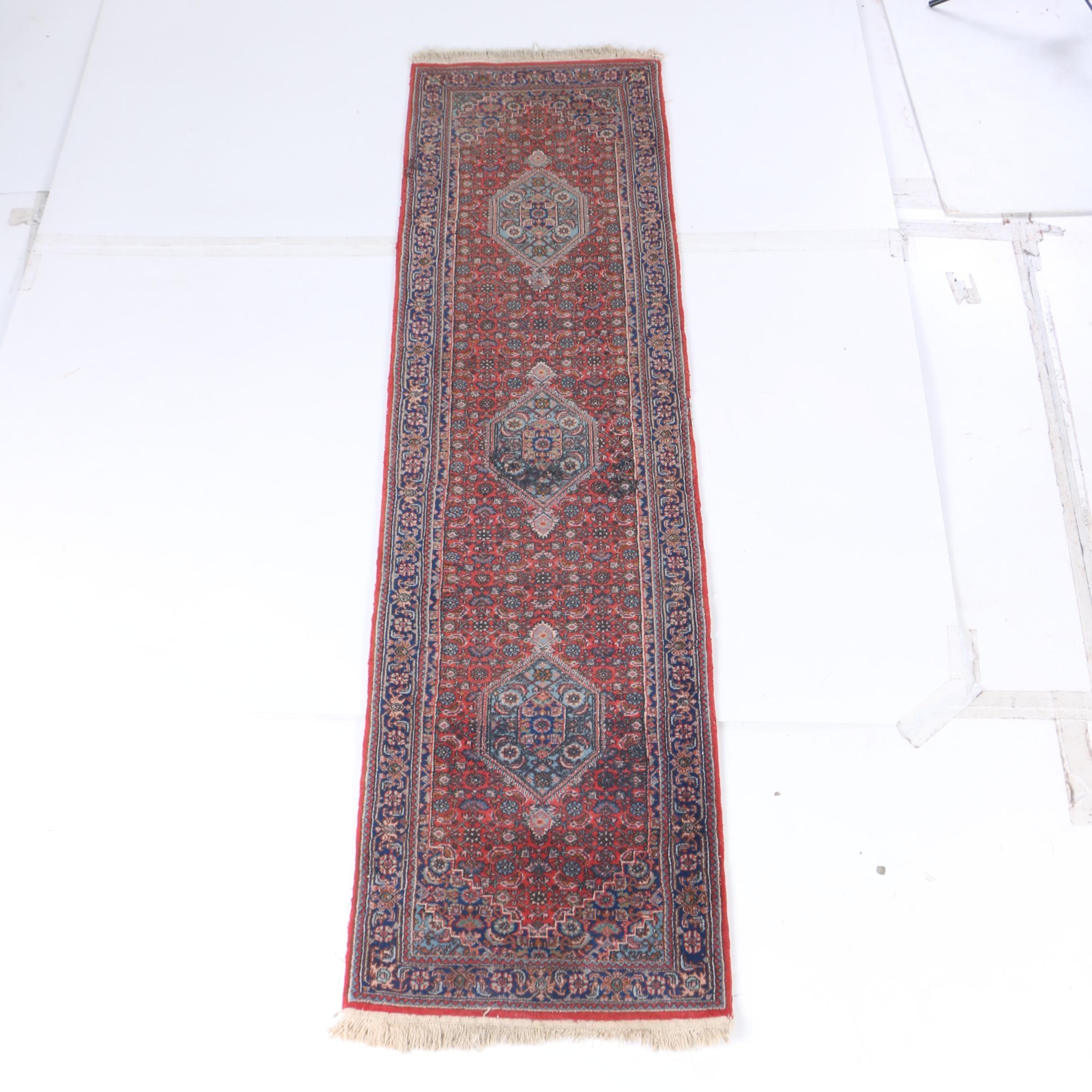 Hand-Knotted Bijar Wool Carpet Runner