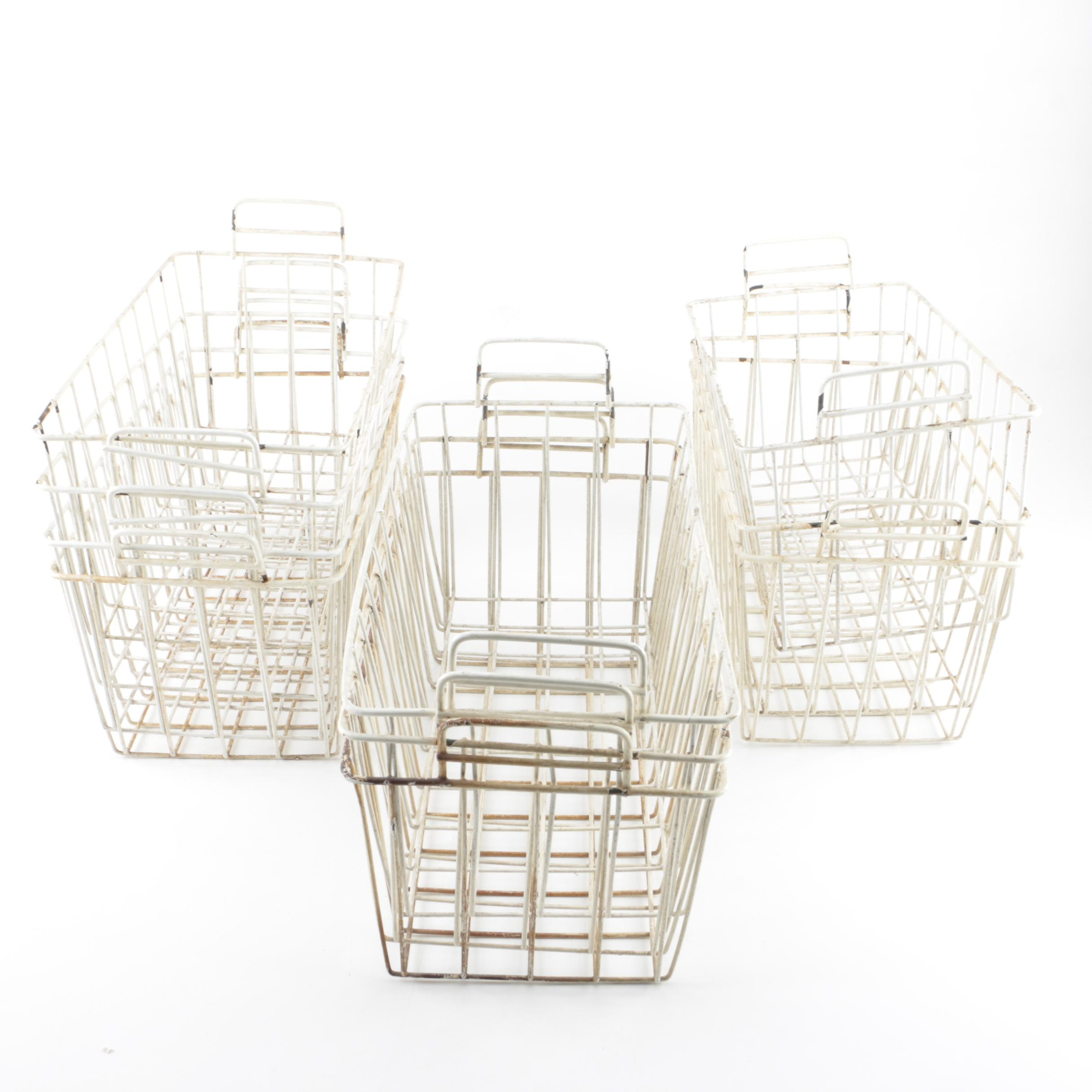 Vintage White Metal Locker Baskets