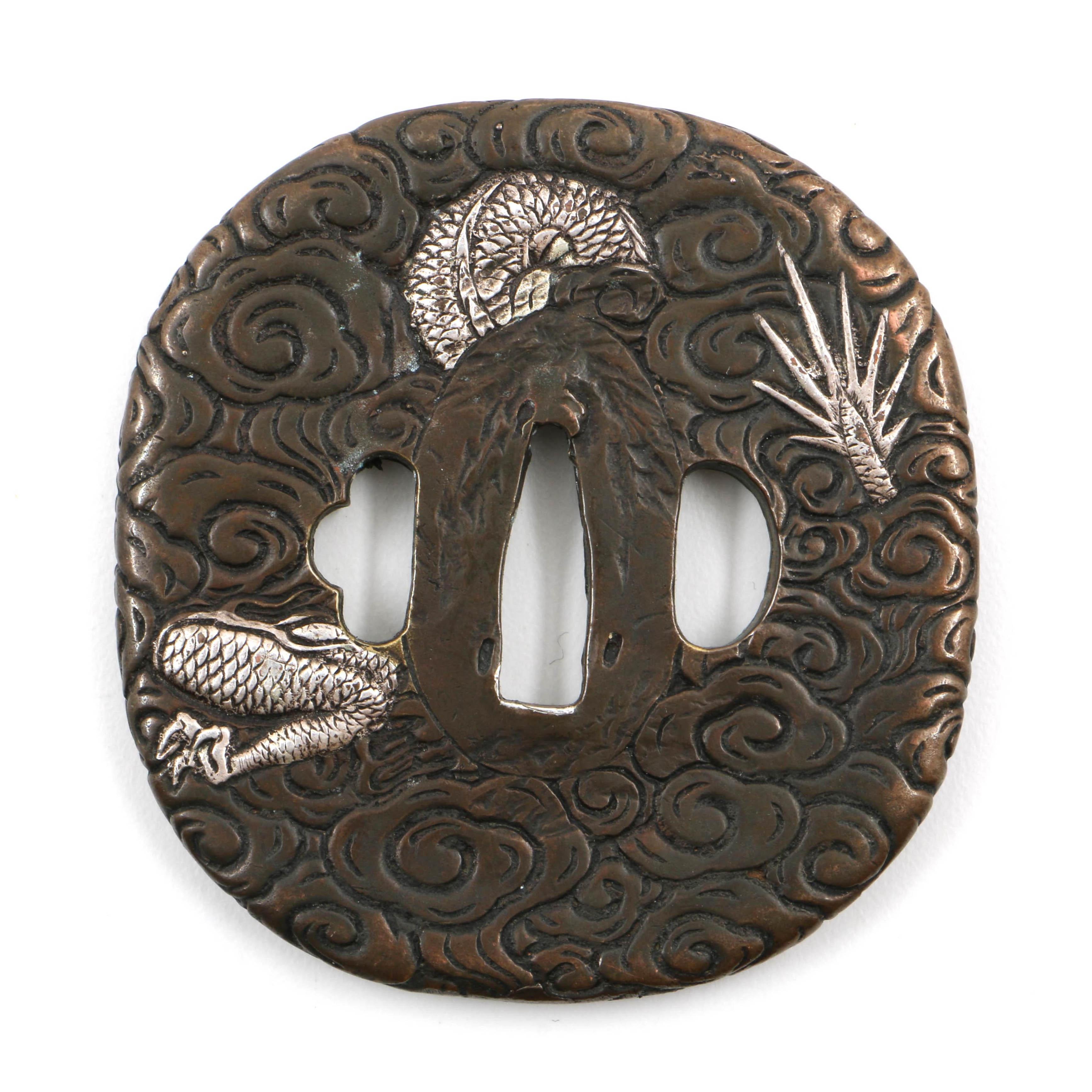 Japanese Bronze Tsuba With Silver Dragon Motif