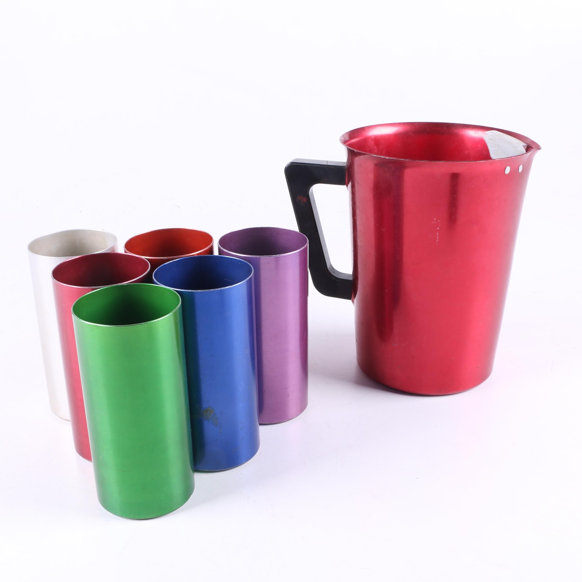 Mid Century Perma Hues Aluminum Tumblers and Vogue Pitcher