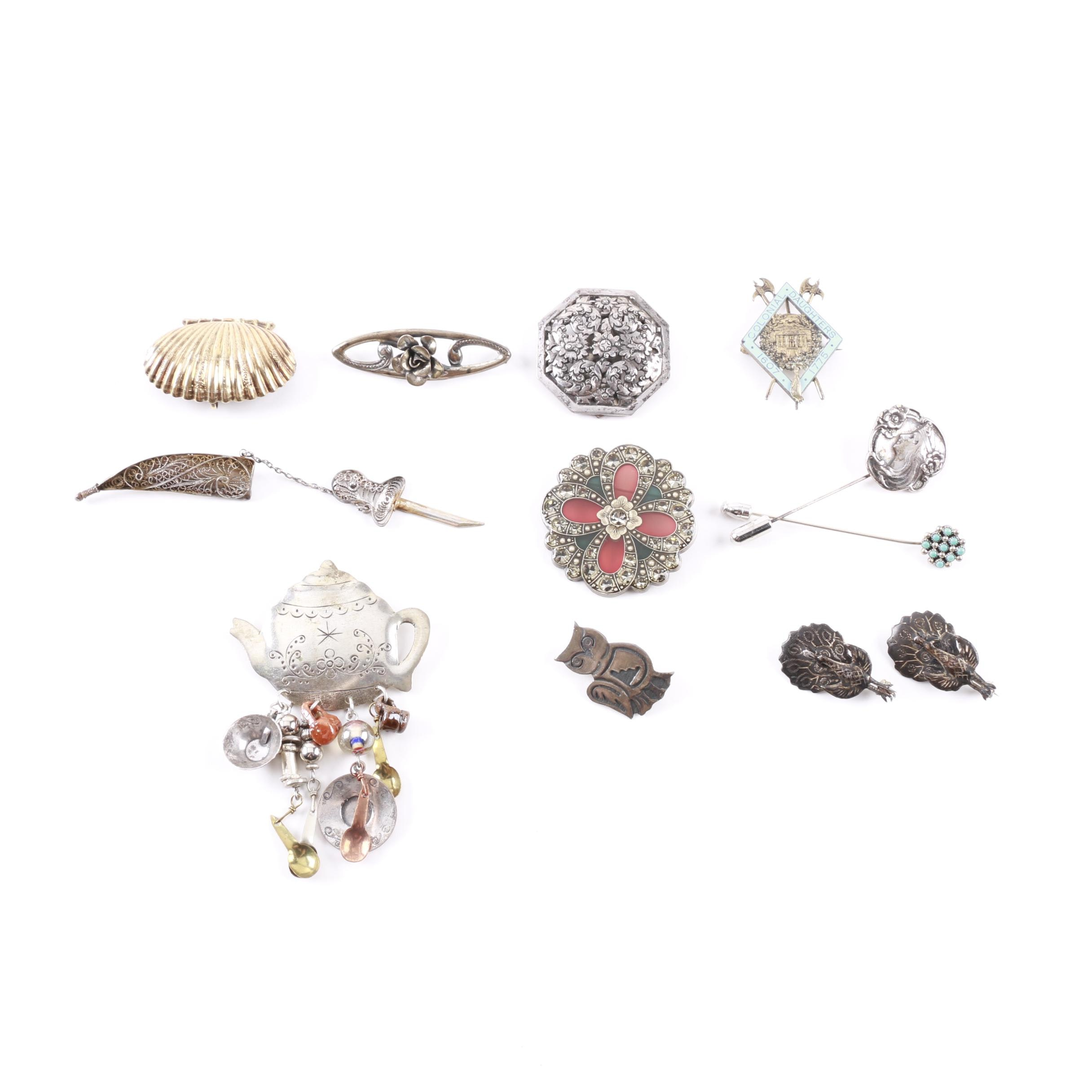 Vintage Sterling Silver, 800 Silver and Costume Jewelry