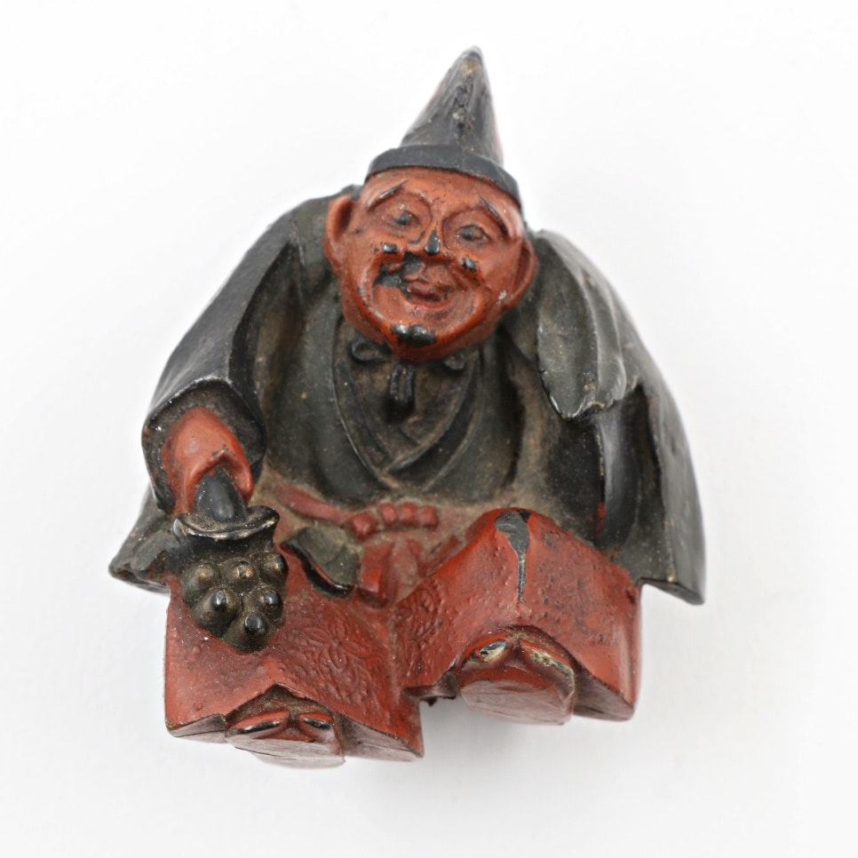 Meiji Period Carved and Lacquered Wood Netsuke